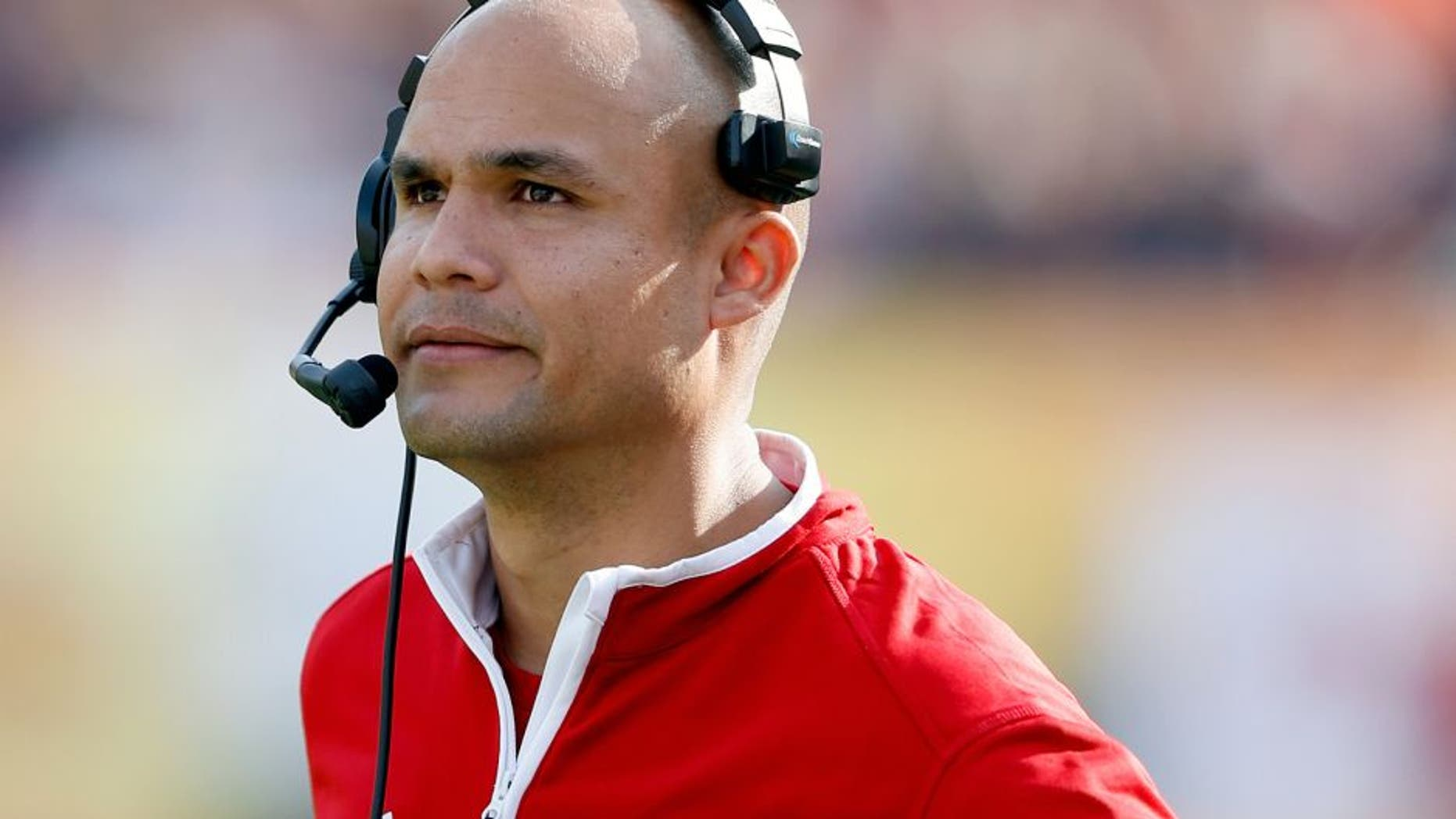 TAMPA, FL - JANUARY 1: Defensive coordinator Dave Aranda of the Wisconsin Badgers looks on against the Auburn Tigers during the Outback Bowl at Raymond James Stadium on January 1, 2015 in Tampa, Florida. Wisconsin defeated Auburn 34-31 in overtime. (Photo by Joe Robbins/Getty Images)
