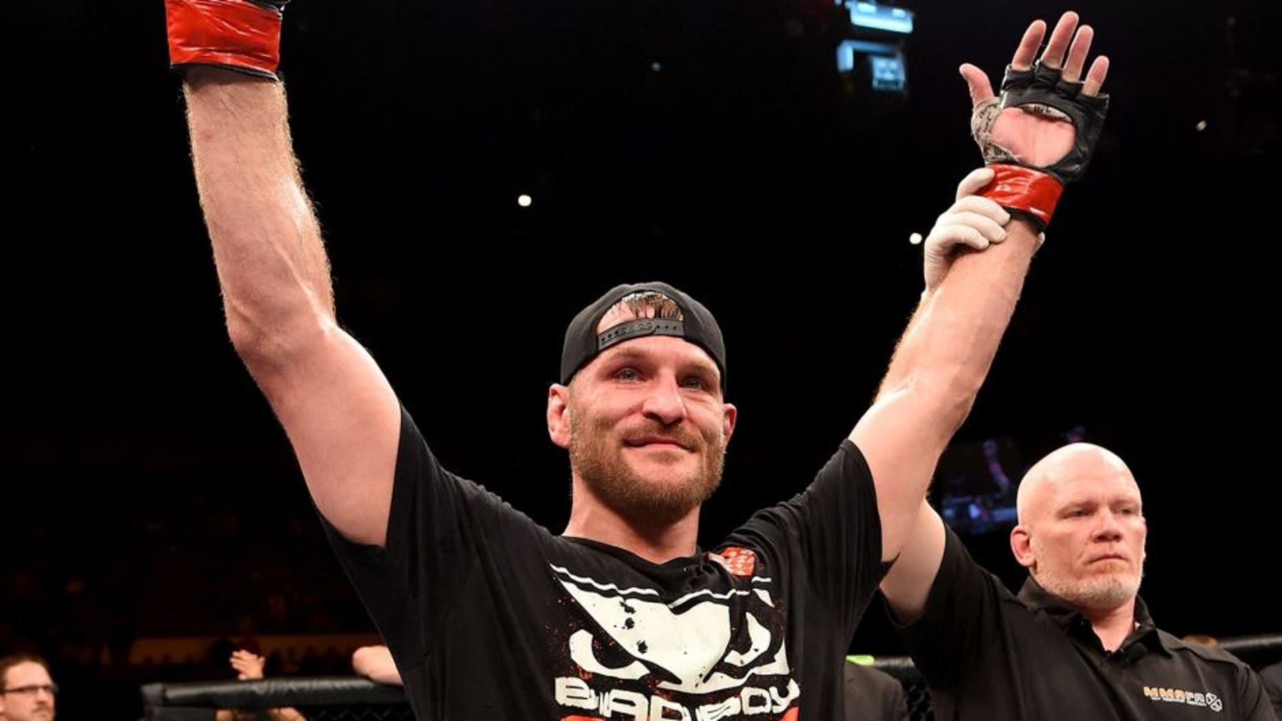 ADELAIDE, AUSTRALIA - MAY 10: Stipe Miocic celebrates his TKO victory over Mark Hunt in their heavyweight bout during the UFC Fight Night event at the Adelaide Entertainment Centre on May 10, 2015 in Adelaide, Australia. (Photo by Josh Hedges/Zuffa LLC/Zuffa LLC via Getty Images)