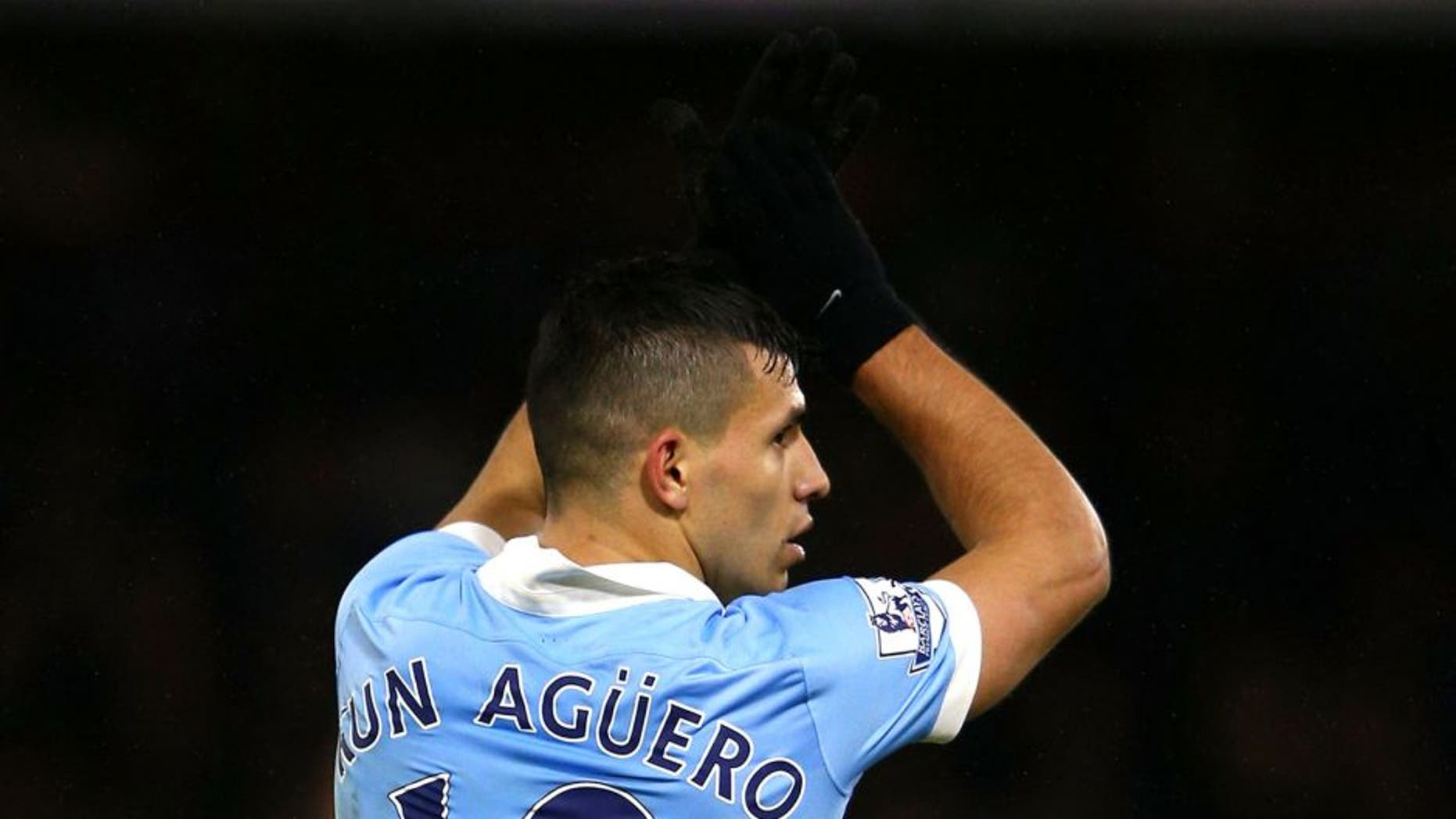 WATFORD, ENGLAND - JANUARY 02: Sergio Aguero of Manchester City celebrates scoring his side's second goal during the Barclays Premier League match between Watford and Manchester City at Vicarage Road on January 2, 2016 in Watford, England. (Photo by Ian Walton/Getty Images)