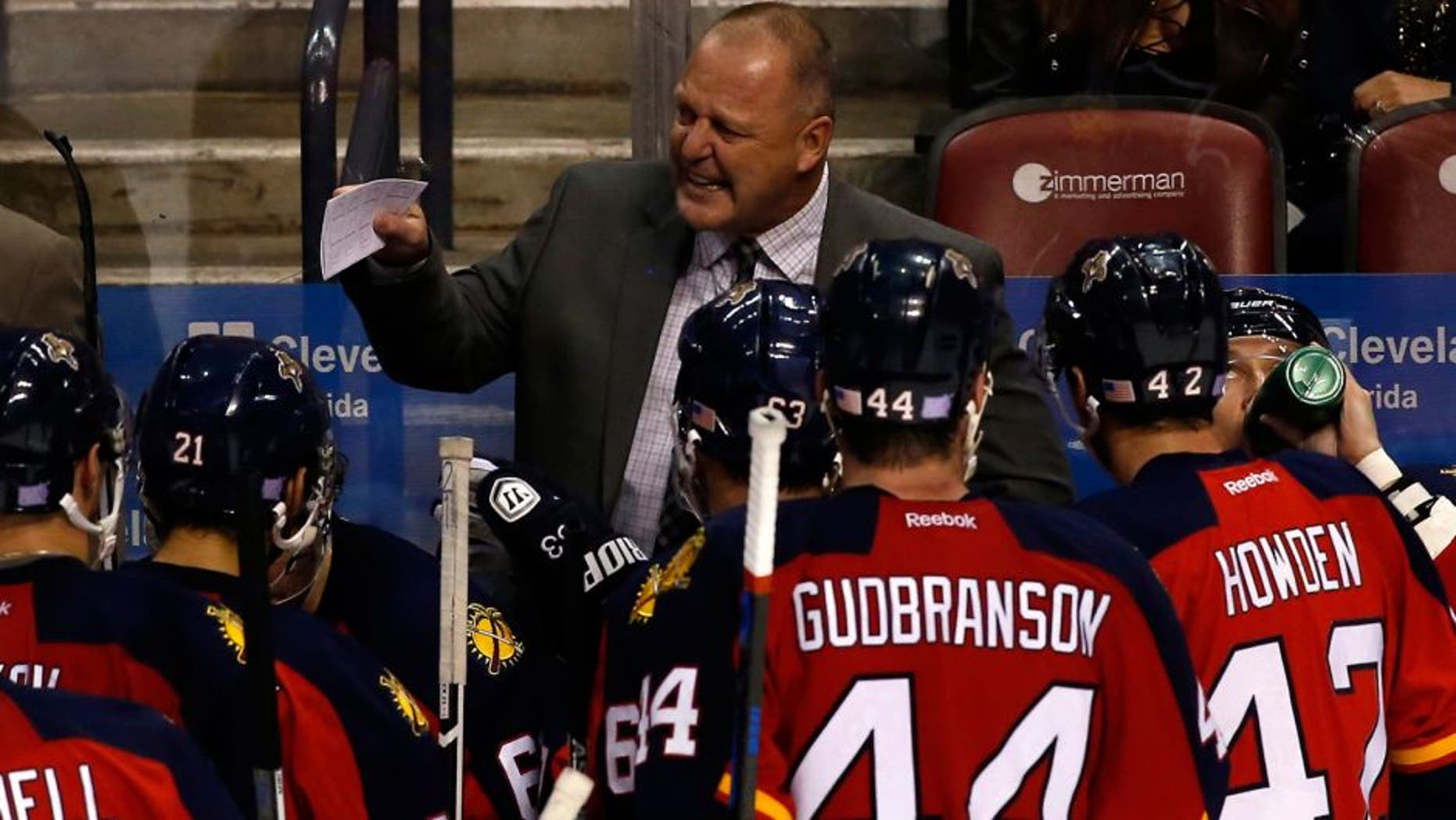 Nov 10, 2015; Sunrise, FL, USA; Florida Panthers head coach Gerard Gallant talks to the team in the third period of a game against the Calgary Flames at BB&T Center. The Panthers won 4-3. Mandatory Credit: Robert Mayer-USA TODAY Sports