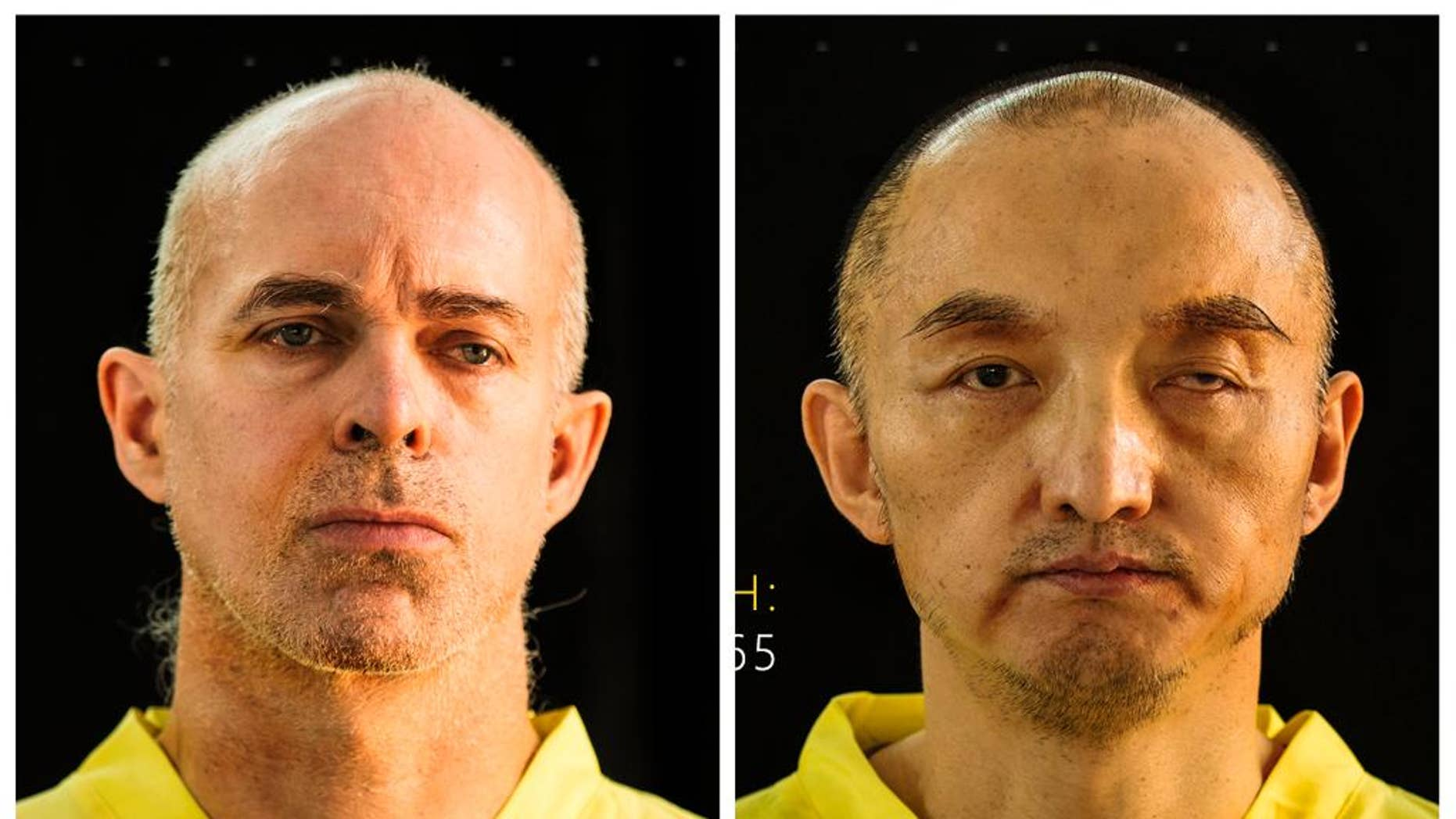 This combination of undated photos taken from the Islamic State group's online magazine Dabiq purports to show Ole Johan Grimsgaard-Ofstad, 48, from Oslo, Norway, left, and Fan Jinghui, 50, from Beijing, China. The extremist group claimed on Wednesday, Sept. 9, 2015, to be holding the men hostage and demanded ransom for their release. (Dabiq via AP)