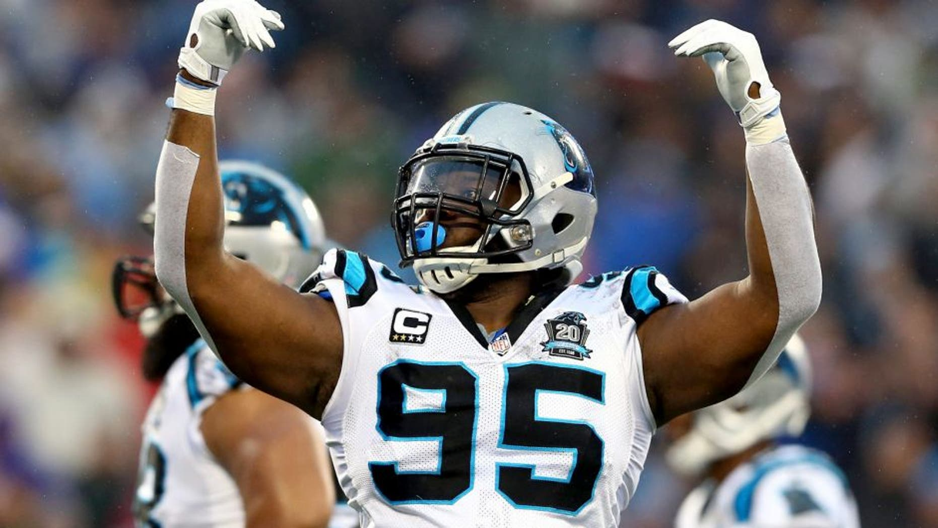 CHARLOTTE, NC - JANUARY 03: Charles Johnson #95 of the Carolina Panthers celebrates during their NFC Wild Card Playoff game against the Arizona Cardinals at Bank of America Stadium on January 3, 2015 in Charlotte, North Carolina. (Photo by Streeter Lecka/Getty Images)