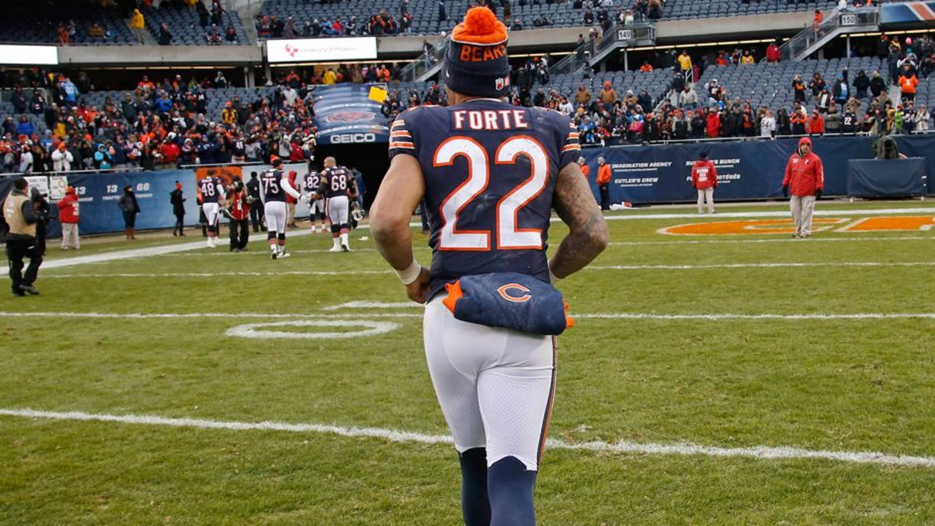 Jan 3, 2016; Chicago, IL, USA; Chicago Bears running back Matt Forte (22) runs off the field after the NFL game against the Detroit Lions at Soldier Field. The Lions won 24-20. Mandatory Credit: Kamil Krzaczynski-USA TODAY Sports
