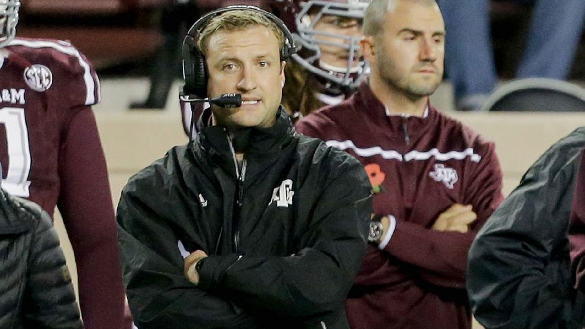 COLLEGE STATION, TX - NOVEMBER 07: Texas A&M Aggies offensive coordinator Jake Spavital at Kyle Field on November 7, 2015 in College Station, Texas. (Photo by Bob Levey/Getty Images)