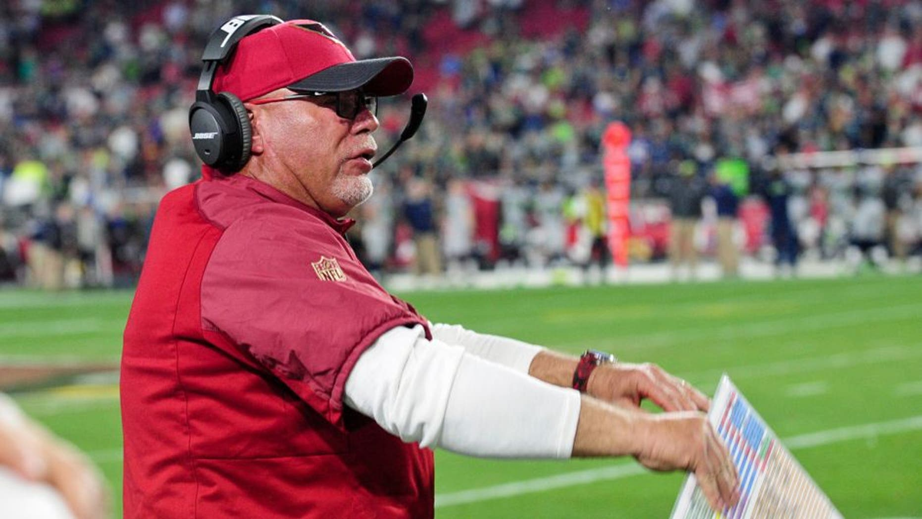 Jan 3, 2016; Glendale, AZ, USA; Arizona Cardinals head coach Bruce Arians reacts during the second half against the Seattle Seahawks at University of Phoenix Stadium. Mandatory Credit: Matt Kartozian-USA TODAY Sports