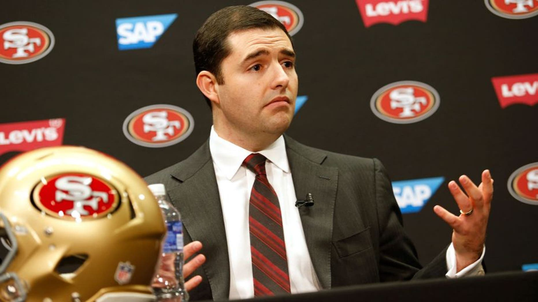 SANTA CLARA, CA - JANUARY 15: CEO Jed York addresses the media at Levi's Stadium on January 15, 2015 in Santa Clara, California. The San Francisco 49ers announced Jim Tomsula as their new head coach to replace Jim Harbaugh. (Photo by Michael Zagaris/San Francisco 49ers/Getty Images)