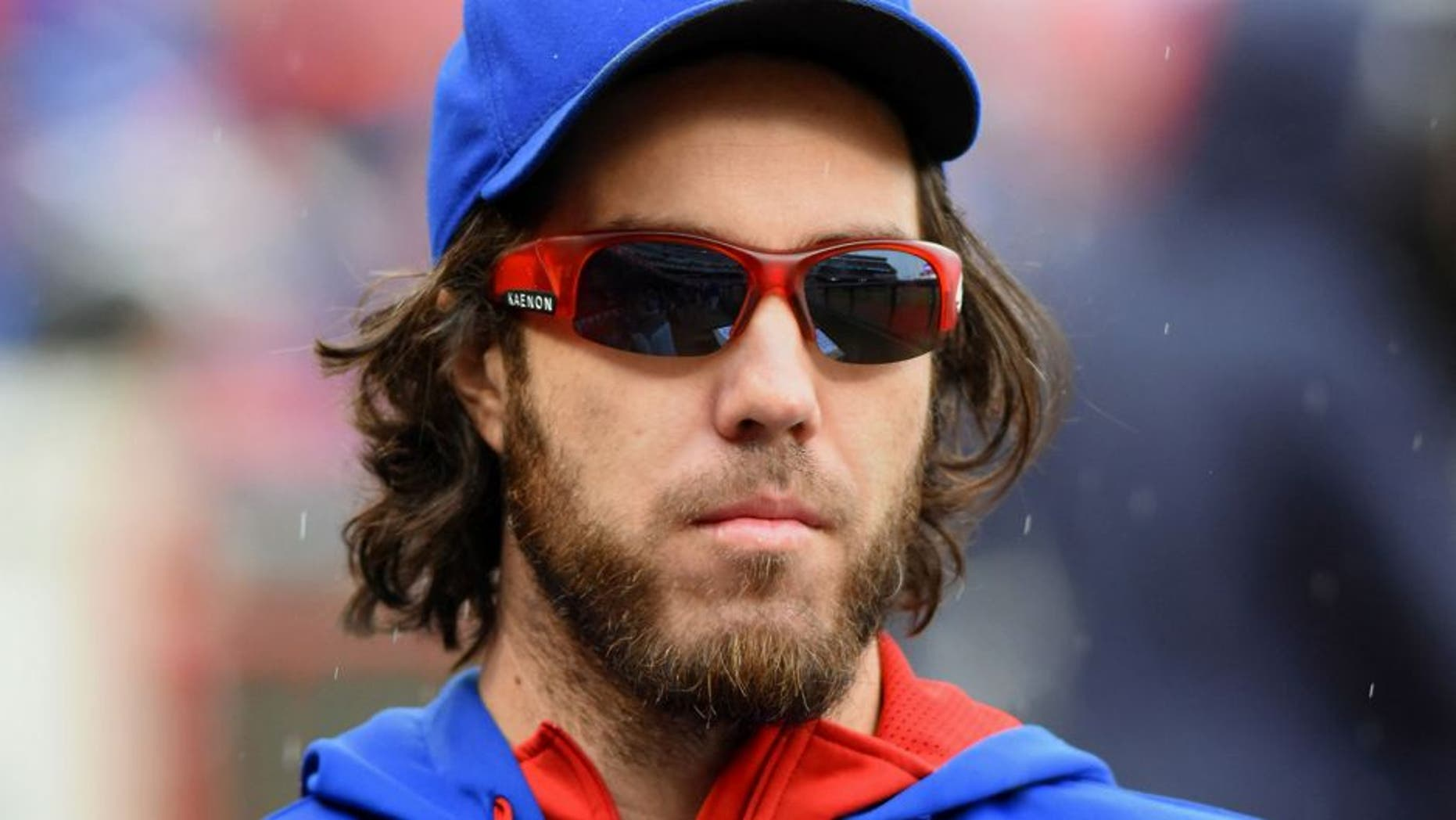 CINCINNATI, OH - OCTOBER 01: Dan Haren #50 of the Chicago Cubs looks on from the dugout during the game against the Cincinnati Reds at Great American Ball Park on October 1, 2015 in Cincinnati, Ohio. The Cubs defeated the Reds 5-3. (Photo by Mark Cunningham/MLB Photos via Getty Images)
