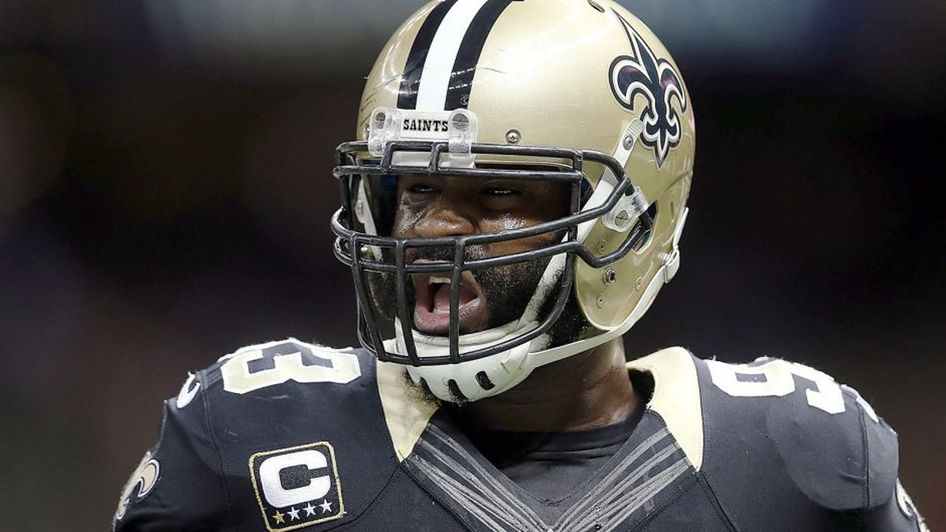 NEW ORLEANS, LA - NOVEMBER 24: Junior Galette #93 of the New Orleans Saints participates in warmups prior to a game against the Baltimore Ravens at the Mercedes-Benz Superdome on November 24, 2014 in New Orleans, Louisiana. (Photo by Chris Graythen/Getty Images)
