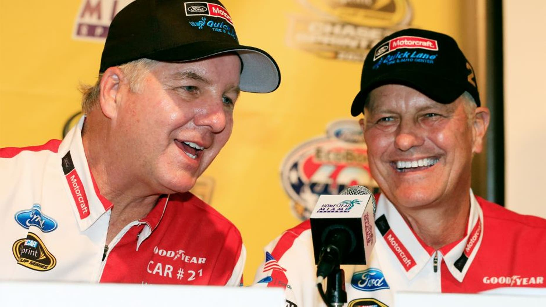 HOMESTEAD, FL - NOVEMBER 20: Len and Eddie Wood attend a press conference at Homestead-Miami Speedway on November 20, 2015 in Homestead, Florida. (Photo by Chris Trotman/NASCAR via Getty Images)