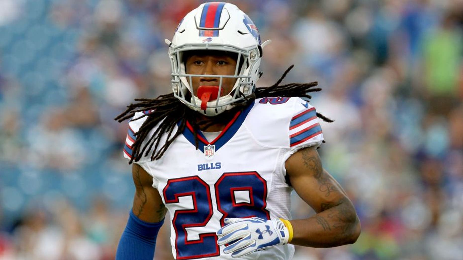 Aug 14, 2015; Orchard Park, NY, USA; Buffalo Bills cornerback Ronald Darby (28) during the first quarter against the Carolina Panthers in a preseason NFL football game at Ralph Wilson Stadium. Mandatory Credit: Timothy T. Ludwig-USA TODAY Sports