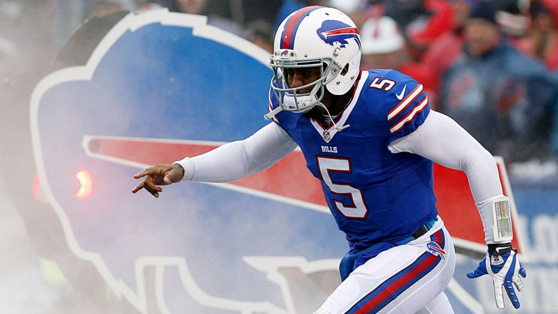 Dec 27, 2015; Orchard Park, NY, USA; Buffalo Bills quarterback Tyrod Taylor (5) before a game against the Dallas Cowboys at Ralph Wilson Stadium. Mandatory Credit: Timothy T. Ludwig-USA TODAY Sports
