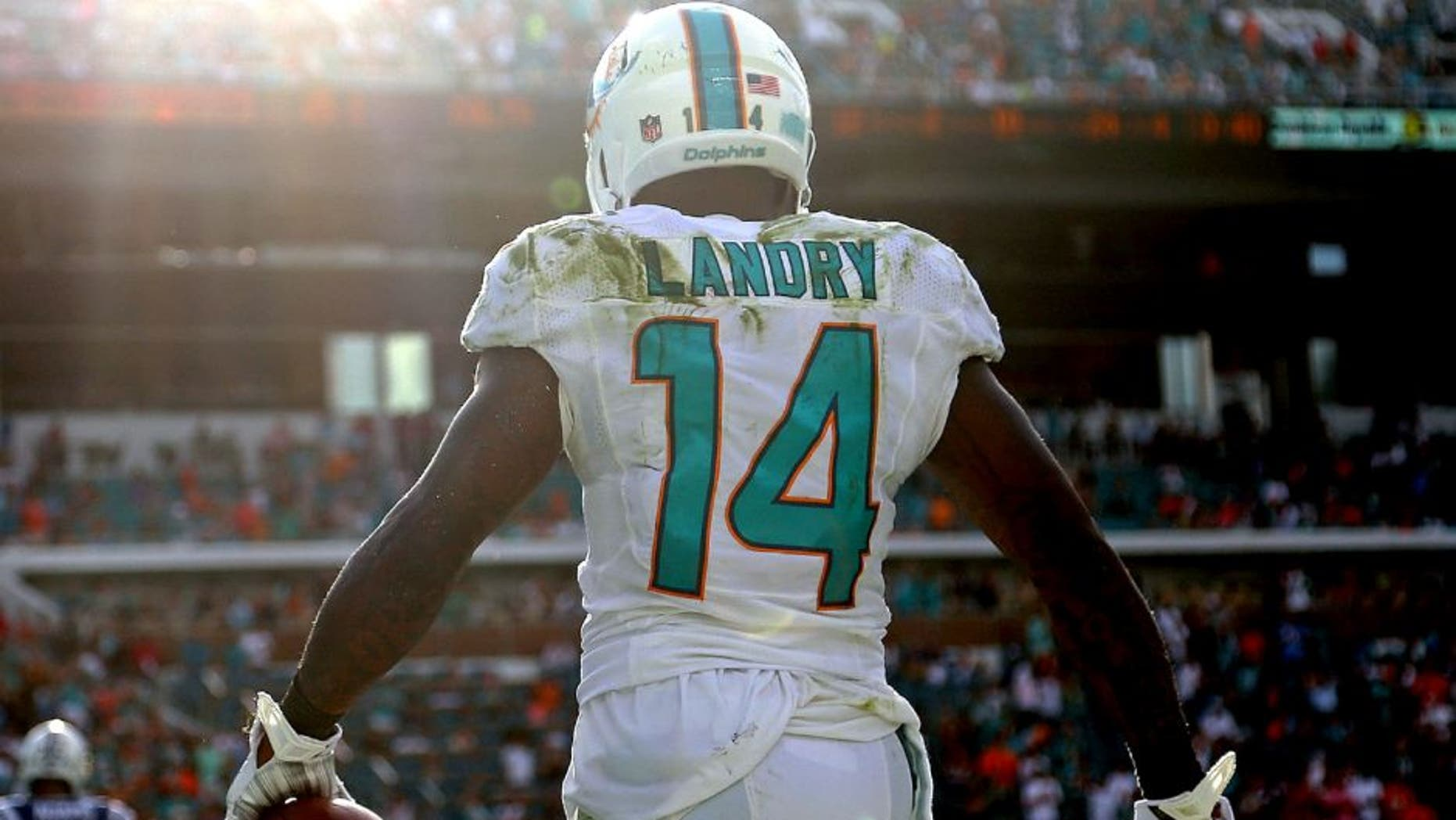 MIAMI GARDENS, FL - DECEMBER 27: Jarvis Landry #14 of the Miami Dolphins reacts to a catch during a game against the Indianapolis Colts at Sun Life Stadium on December 27, 2015 in Miami Gardens, Florida. (Photo by Mike Ehrmann/Getty Images)