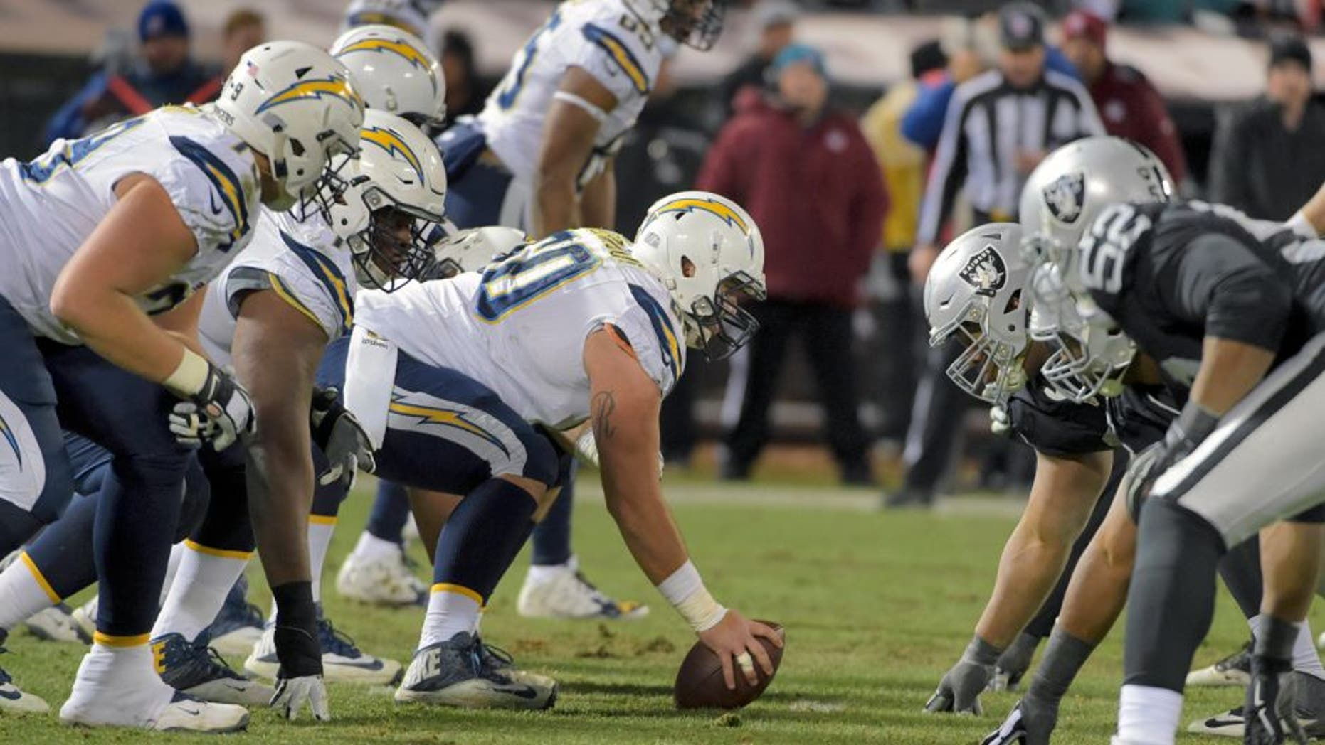 Dec 24, 2015; Oakland, CA, USA; General view of the line of scrimmage as San Diego Chargers center Trevor Robinson (60) prepares to snap the ball against the Oakland Raiders during an NFL football game at O.co Coliseum. The Raiders defeated the Chargers 23-20 in overtime. Mandatory Credit: Kirby Lee-USA TODAY Sports