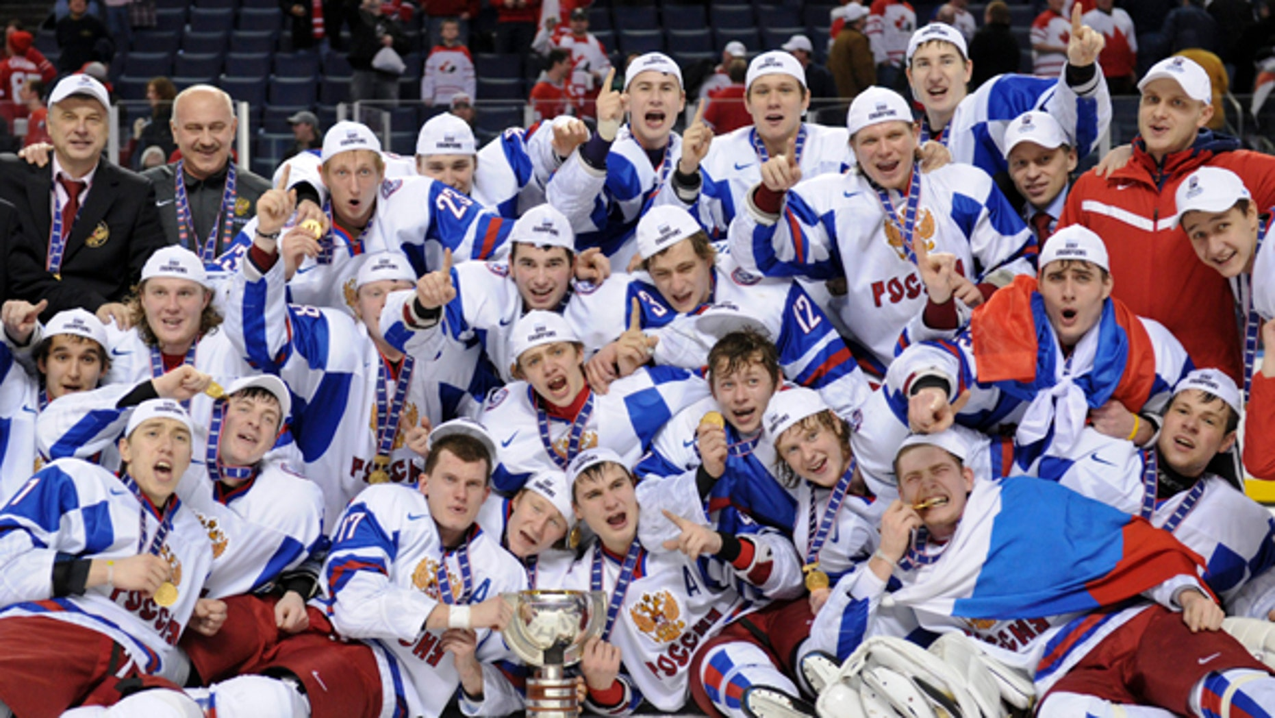 Jan. 5: Members of Team Russia pose for a group photo with their gold medal following their 5-3 victory over Team Canada in the IIHF World Junior Championship gold medal final hockey action in Buffalo, N.Y.