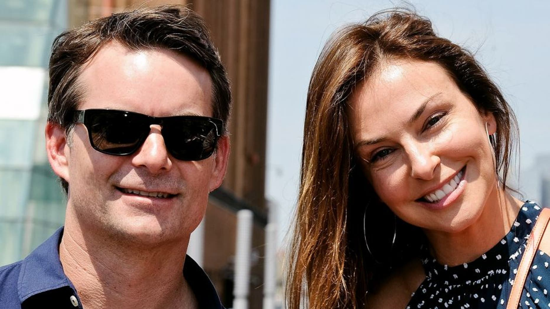 NEW YORK, NY - JUNE 30: Race Car Driver Jeff Gordon with wife Ingrid Vandebosch pose during Jeff Gordon Honored By Ride Of Fame at Pier 78 on June 30, 2015 in New York City. (Photo by Daniel Zuchnik/WireImage)