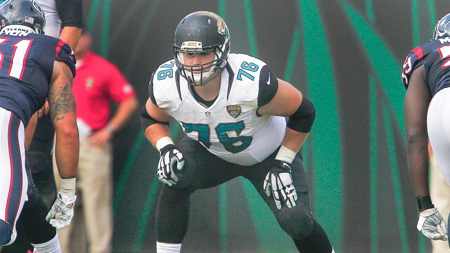 Oct 18, 2015; Jacksonville, FL, USA; Jacksonville Jaguars tackle Luke Joeckel (76) lines up during the second half of a football game against the Houston Texans at EverBank Field. Mandatory Credit: Reinhold Matay-USA TODAY Sports