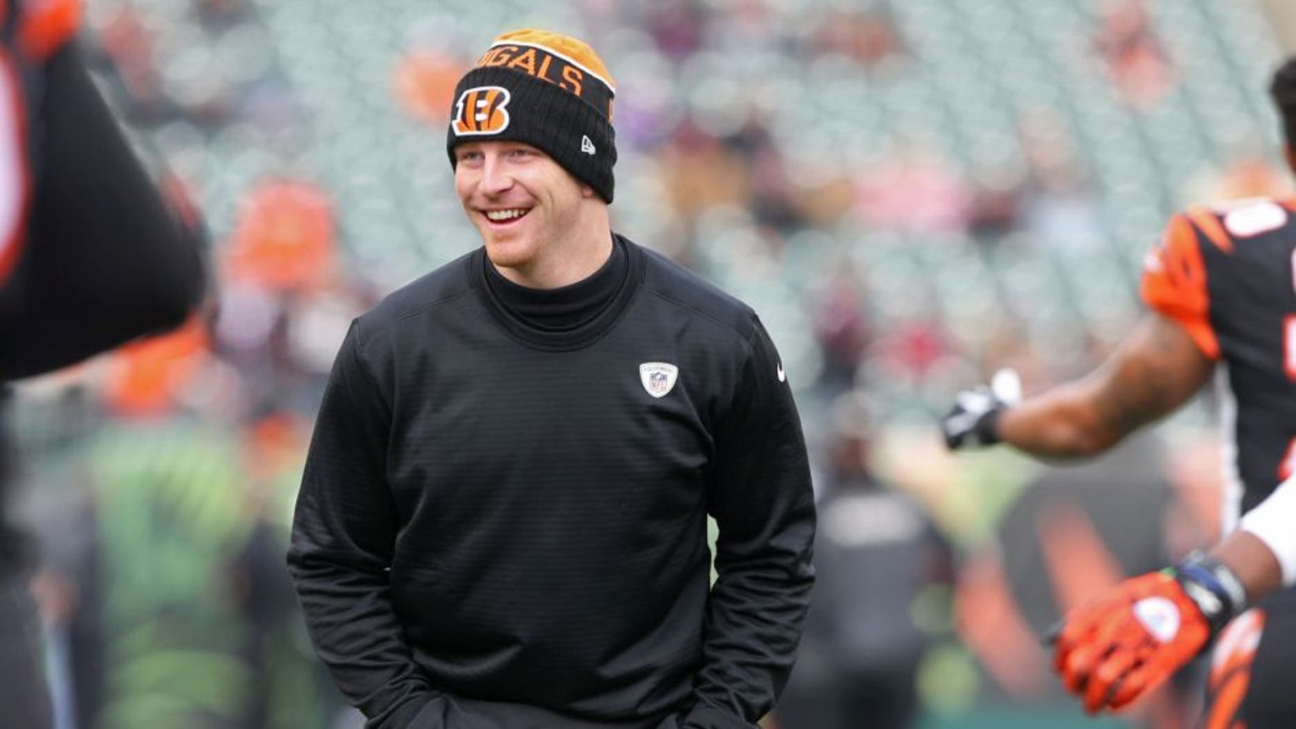 Jan 3, 2016; Cincinnati, OH, USA; Cincinnati Bengals quarterback Andy Dalton (14) looks on during warmups prior to the game against the Baltimore Ravens at Paul Brown Stadium. Mandatory Credit: Aaron Doster-USA TODAY Sports