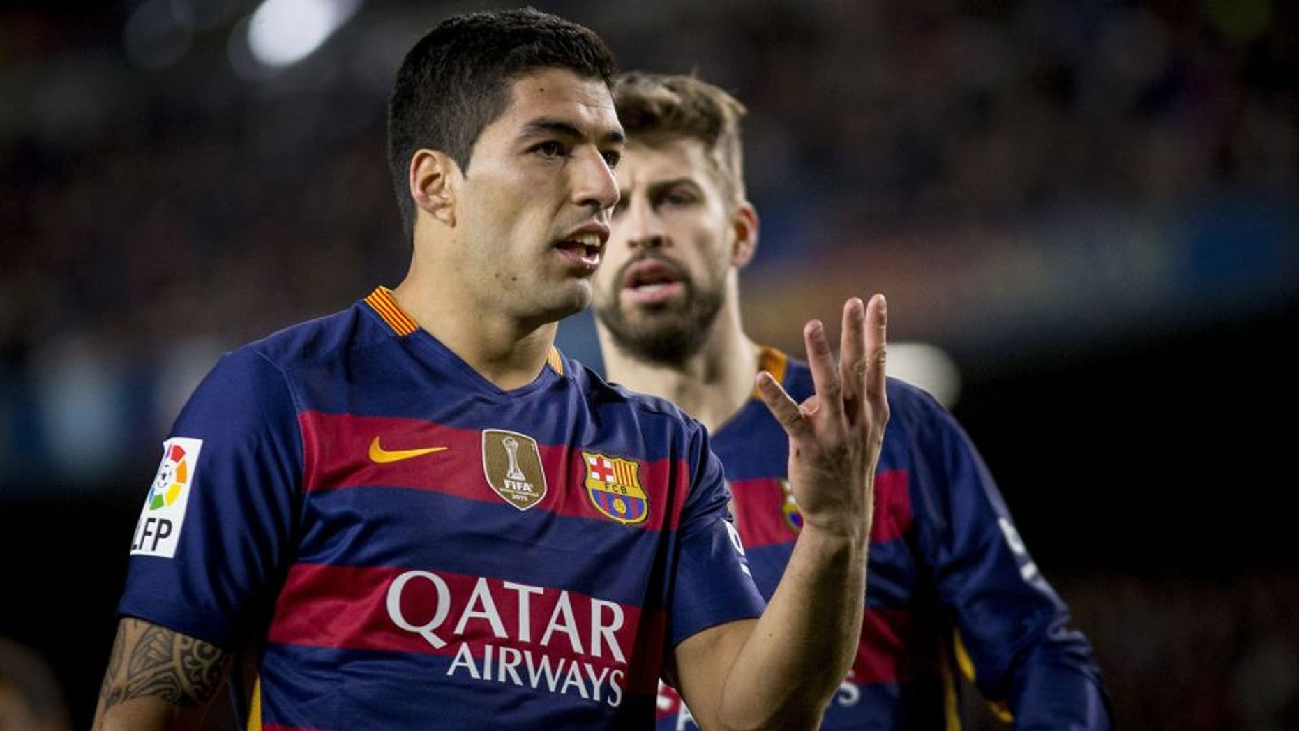 BARCELONA, SPAIN - JANUARY 6 : Barcelona's Luis Suarez gestures during the Spanish Copa del Rey (King's Cup) round of 16 first leg football match between FC Barcelona vs RCD Espanyol at the Camp Nou stadium in Barcelona on January 6, 2016. (Photo by Albert Llop/Anadolu Agency/Getty Images)