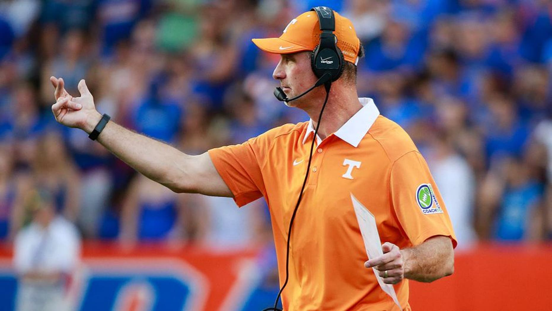 Sep 26, 2015; Gainesville, FL, USA; Tennessee Volunteers defensive coordinator John Jancek during the second half at Ben Hill Griffin Stadium. Florida Gators defeated the Tennessee Volunteers 28-27. Mandatory Credit: Kim Klement-USA TODAY Sports