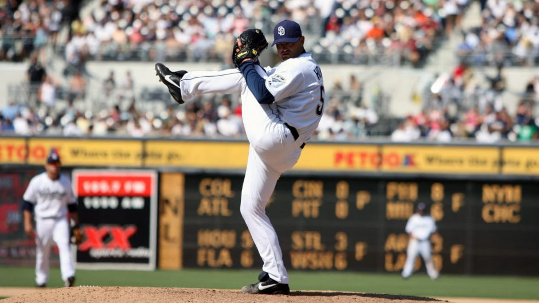 SAN DIEGO - AUGUST 5: Trevor Hoffman of the San Diego Padres pitches during the game against the San Francisco Giants at Petco Park in San Diego, California on August 5, 2007. The Padres defeated the Giants 5-4. (Photo by Rich Pilling/MLB Photos via Getty Images)