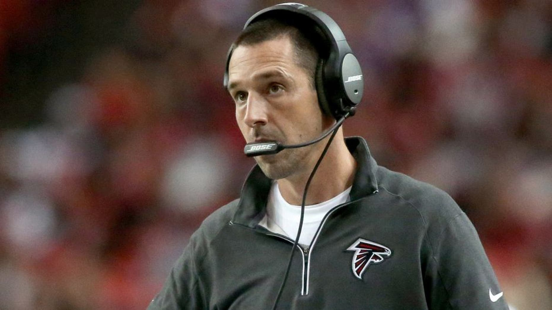 Nov 29, 2015; Atlanta, GA, USA; Atlanta Falcons offensive coordinator Kyle Shanahan is shown on the sideline in the third quarter of their game against the Minnesota Vikings at the Georgia Dome. The Vikings won 20-10. Mandatory Credit: Jason Getz-USA TODAY Sports