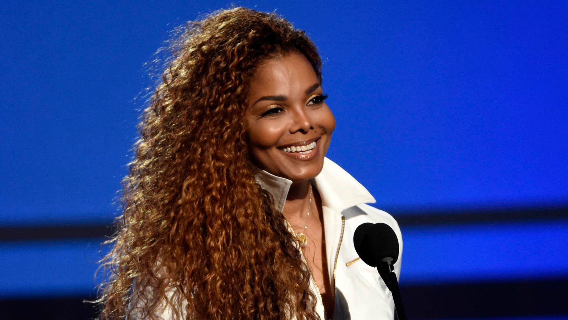 FILE - In this June 28, 2015, file photo, Janet Jackson accepts the ultimate icon: music dance visual award at the BET Awards in Los Angeles.