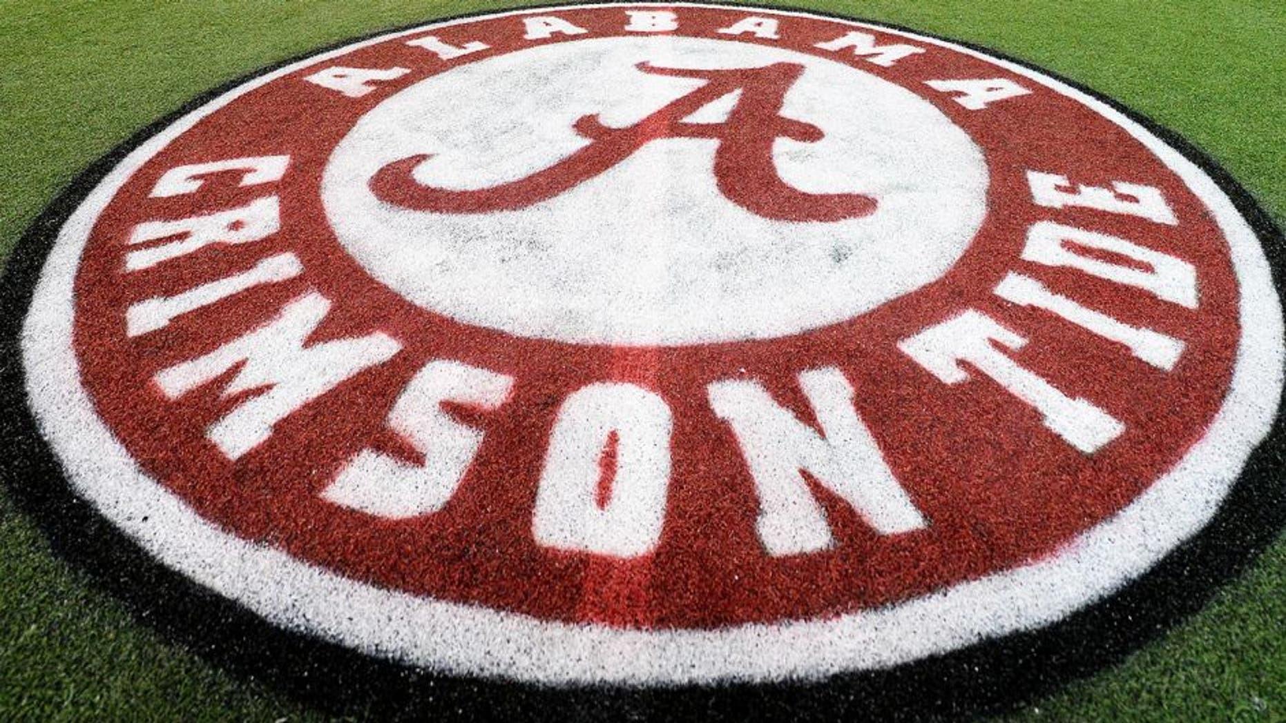 Dec 5, 2014; Atlanta, GA, USA; The Alabama Crimson Tide logo is seen on the field of the Georgia Dome. Alabama plays Missouri in the SEC Championship on Saturday. Mandatory Credit: John David Mercer-USA TODAY Sports