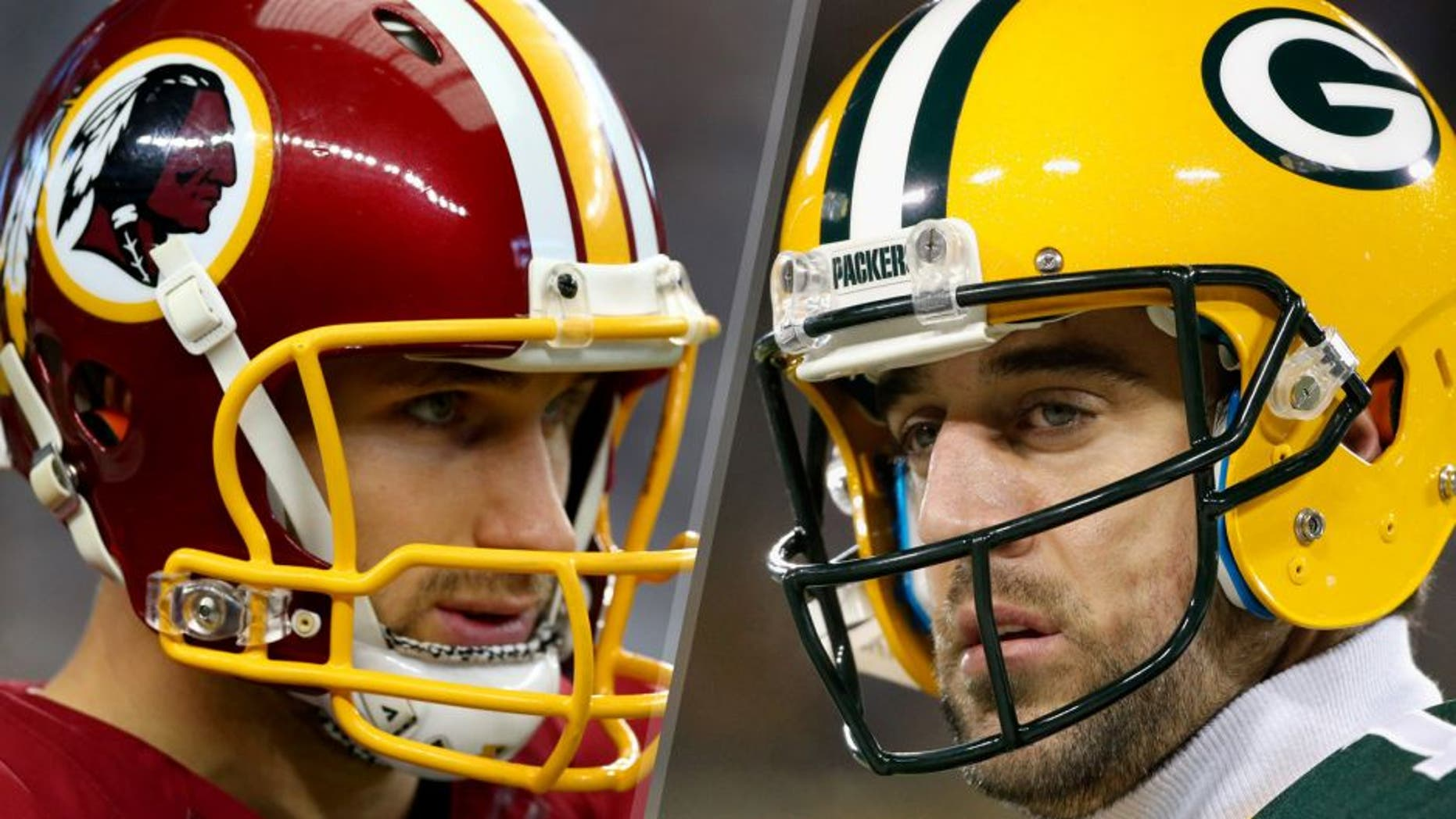 ARLINGTON, TX - JANUARY 03: Kirk Cousins #8 of the Washington Redskins looks on before the Redskins take on the Dallas Cowboys at AT&T Stadium on January 3, 2016 in Arlington, Texas. (Photo by Ronald Martinez/Getty Images) GREEN BAY, WI - JANUARY 03: Aaron Rodgers #12 of the Green Bay Packers looks on prior to the game against the Minnesota Vikings at Lambeau Field on January 3, 2016 in Green Bay, Wisconsin. (Photo by Jon Durr/Getty Images)