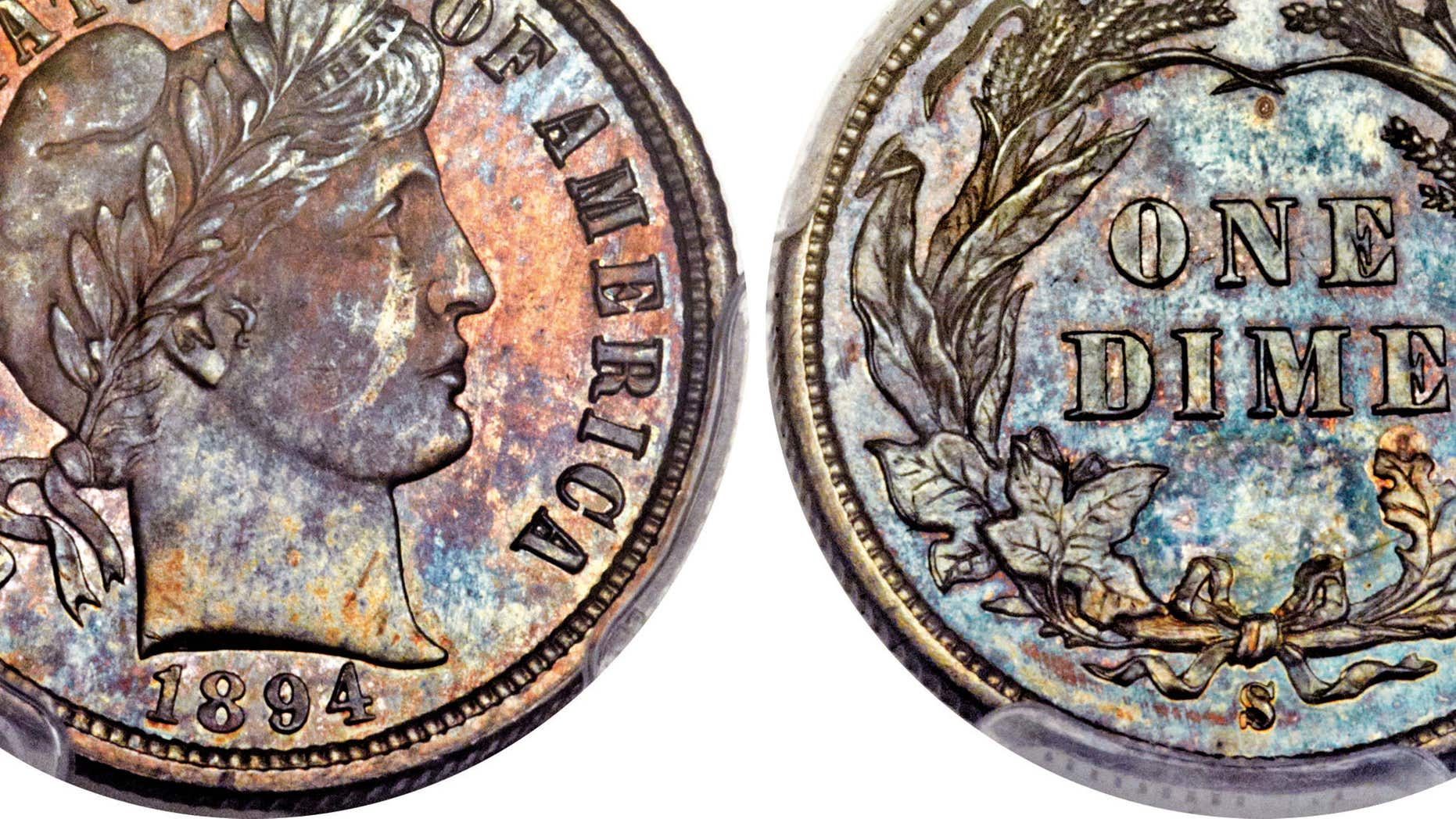 This Nov. 10, 2015, photo combination provided by Heritage Auctions, shows the front and back of a rare 1894 dime that will be put up for auction Thursday Jan. 7, 2016 in Tampa, Fla.