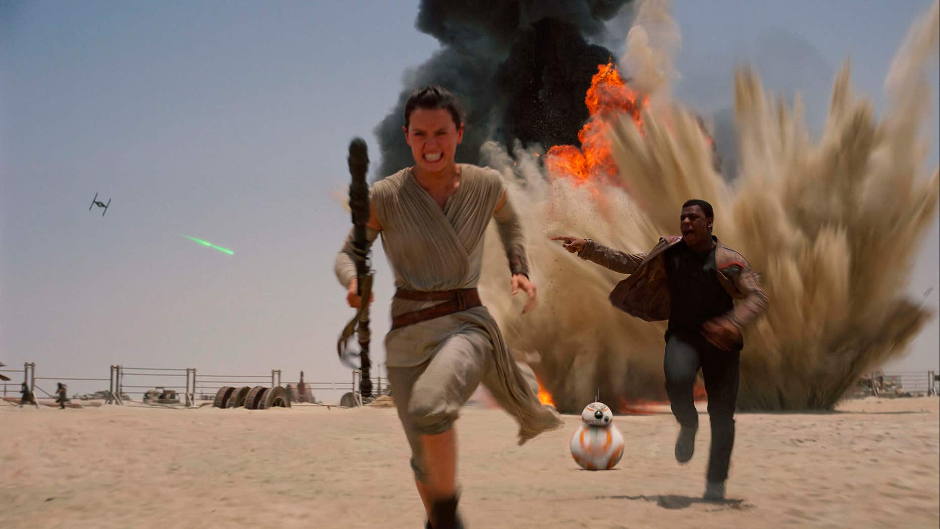 """FILE- This undated file photo provided by Disney shows Daisey Ridley as Rey, left, and John Boyega as Finn, in a scene from the film, """"Star Wars: The Force Awakens."""""""