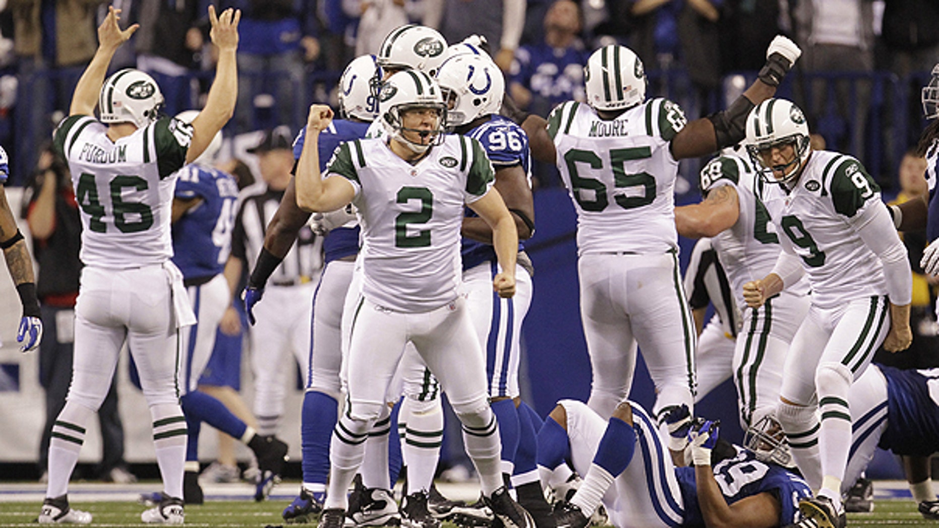 Jan. 8: New York Jets place kicker Nick Folk (2) reacts after kicking the game winning 32-yard field goal during the fourth quarter of an NFL AFC wild card football playoff game against the Indianapolis Colts in Indianapolis.