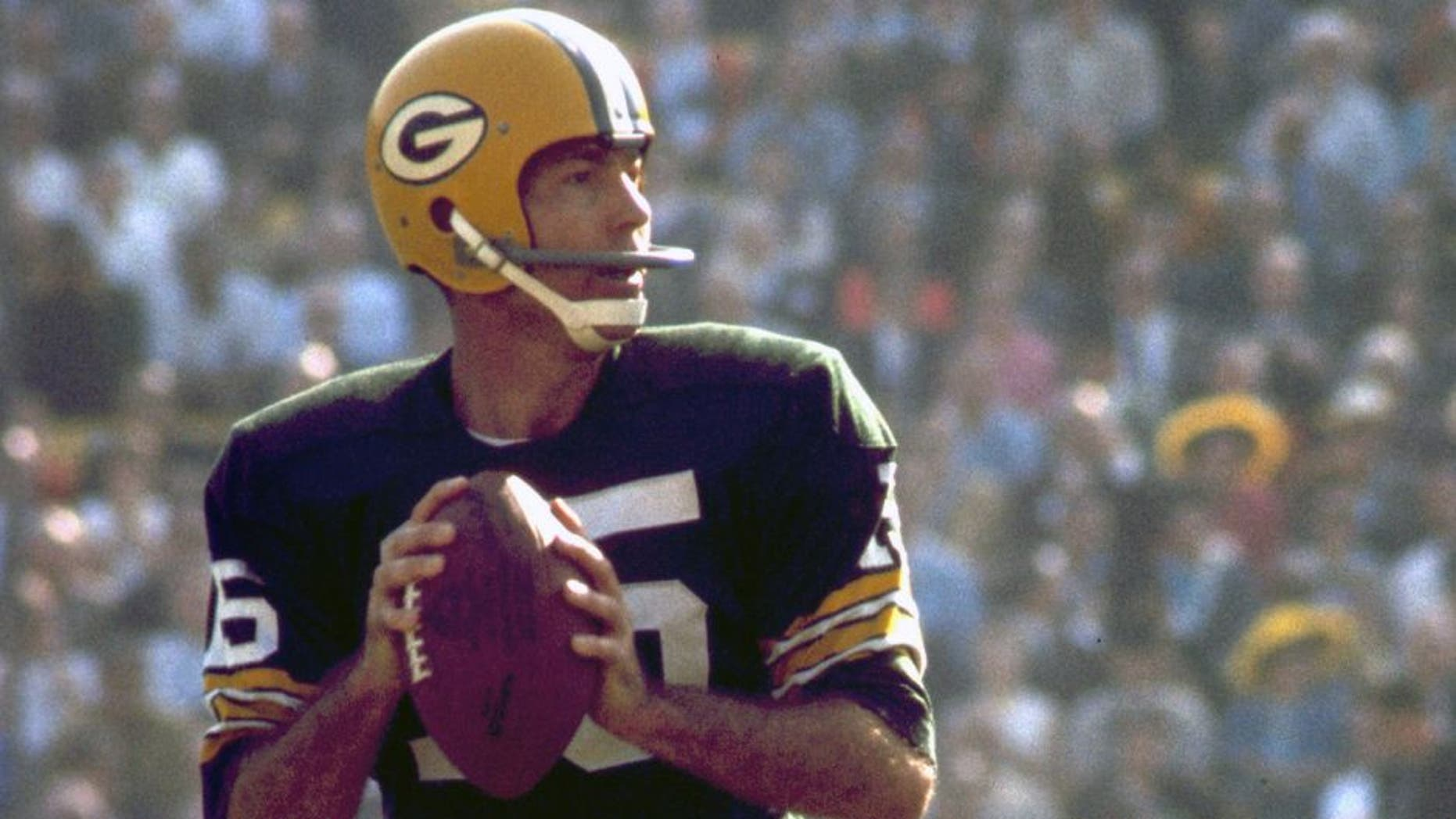 Green Bay Packers Hall of Fame quarterback Bart Starr (15) surveys the field during Super Bowl I, a 35-10 victory over the Kansas City Chiefs on January 15, 1967, at the Los Angeles Memorial Coliseum in Los Angeles, California. (Photo by James Flores/Getty Images)