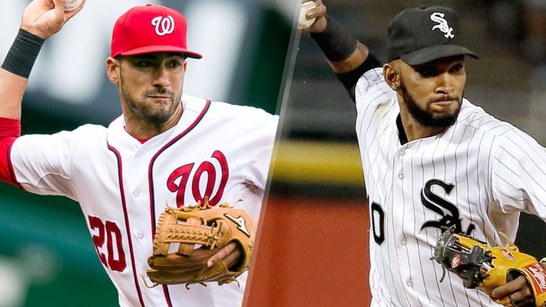 L - WASHINGTON, DC - SEPTEMBER 27: Ian Desmond #20 of the Washington Nationals makes a throw during a game against the Philadelphia Phillies at Nationals Park on September 27, 2015 in Washington, DC. (Photo by Patrick McDermott/Washington Nationals/Getty Images) R - CHICAGO, IL - SEPTEMBER 29: Alexei Ramirez #10 of the Chicago White Sox throws to first base for the out against the Kansas City Royals during the third inning at U.S. Cellular Field on September 29, 2015 in Chicago, Illinois. (Photo by Jon Durr/Getty Images)