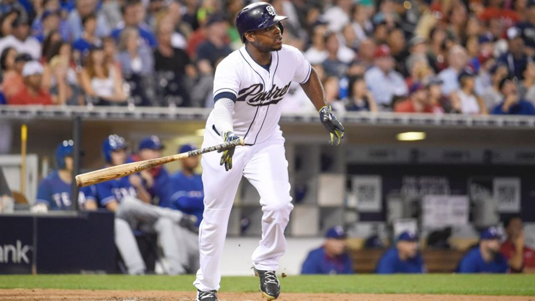 SAN DIEGO, CA - AUGUST 31: Justin Upton #10 of the San Diego Padres plays during a baseball game against the Texas Rangers at Petco Park August, 31, 2015 in San Diego, California. (Photo by Denis Poroy/Getty Images)