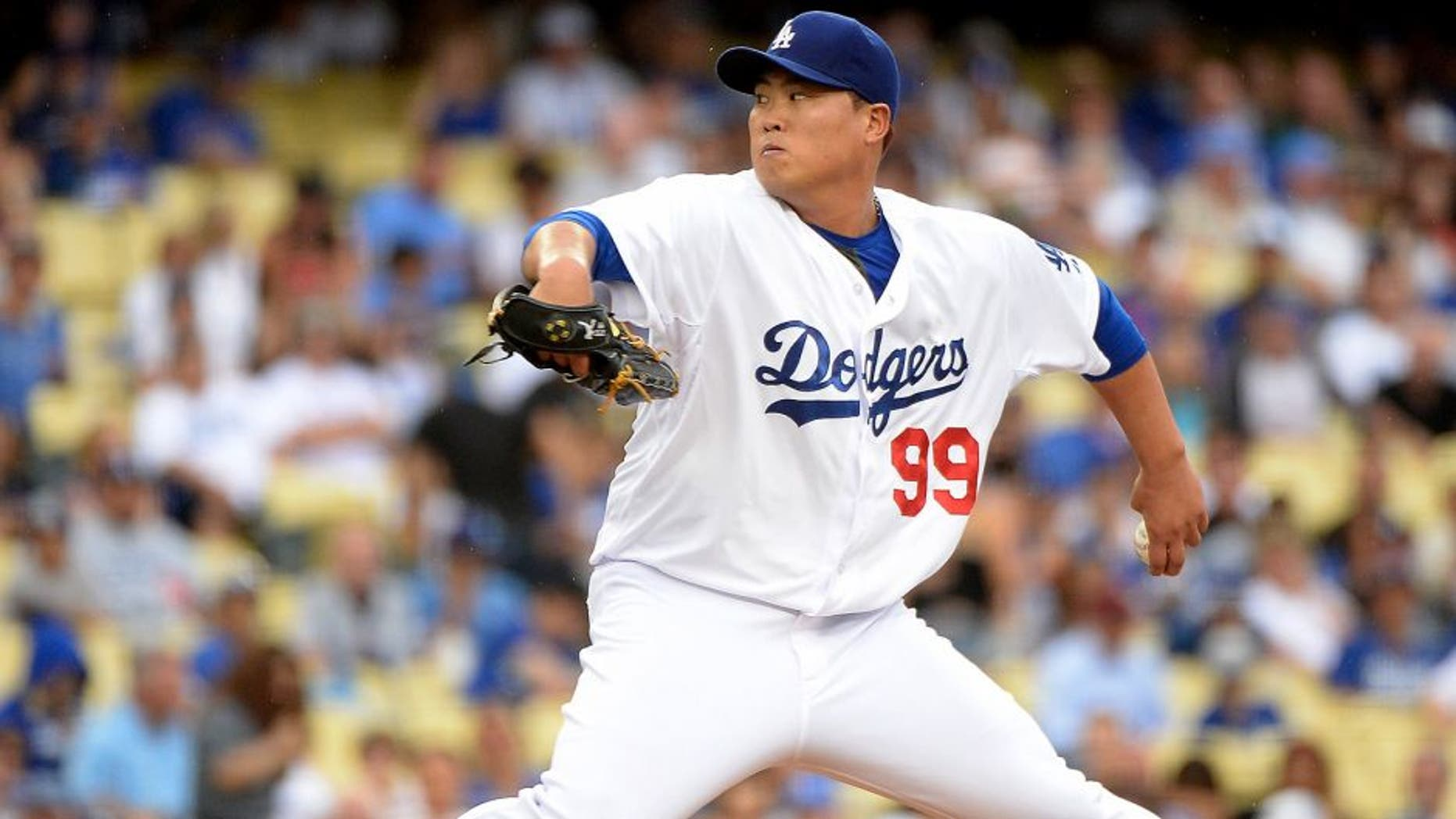 LOS ANGELES, CA - AUGUST 02: Hyun-Jin Ryu #99 of the Los Angeles Dodgers pitches against the Chicago Cubs during the first inning at Dodger Stadium on August 2, 2014 in Los Angeles, California. (Photo by Harry How/Getty Images)