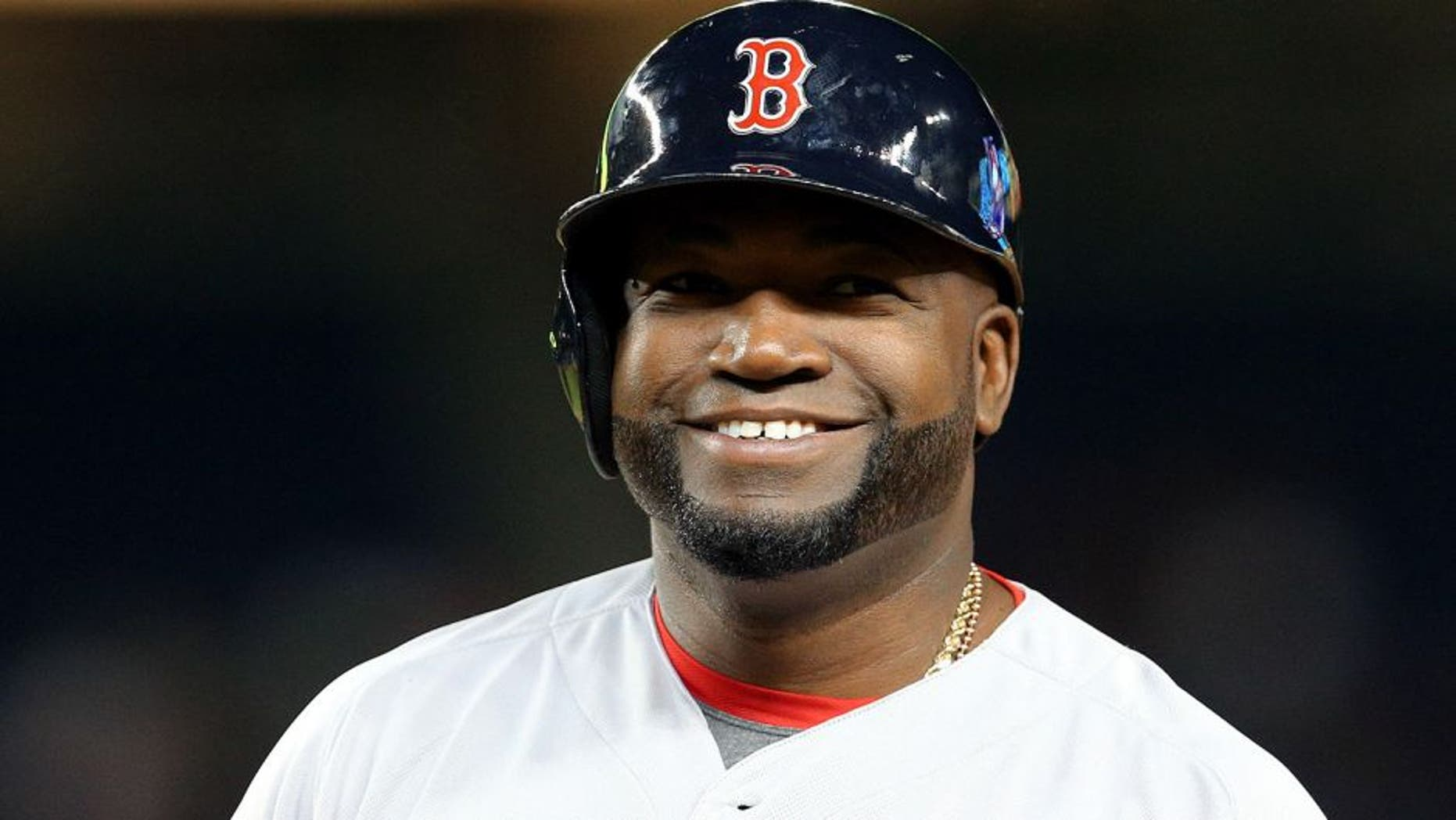 Sep 30, 2015; Bronx, NY, USA; Boston Red Sox designated hitter David Ortiz (34) reacts after hitting an RBI single against the New York Yankees during the third inning at Yankee Stadium. Mandatory Credit: Brad Penner-USA TODAY Sports