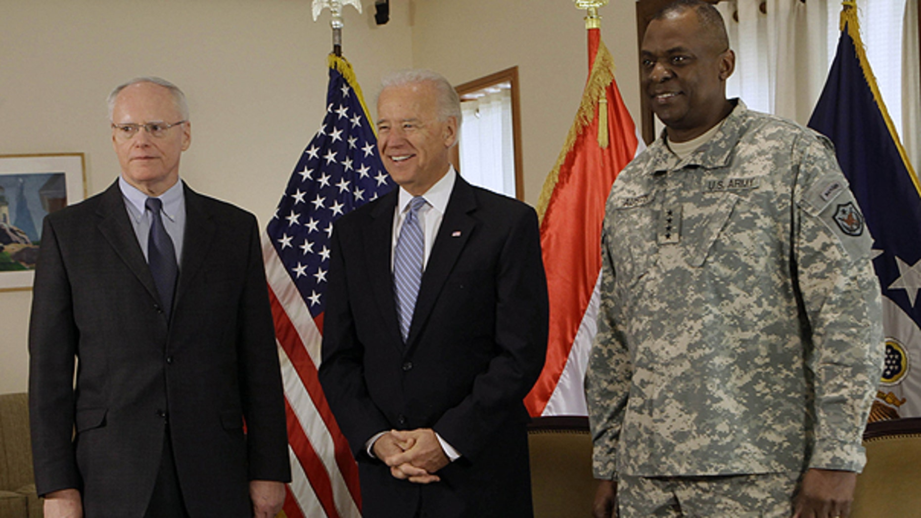 Jan. 13: U.S. Vice President Joe Biden, center, is seen with Ambassador to Iraq James F. Jeffrey, left, and Gen. Lloyd Austin, the top U.S. commander in Iraq, in Baghdad, Iraq.