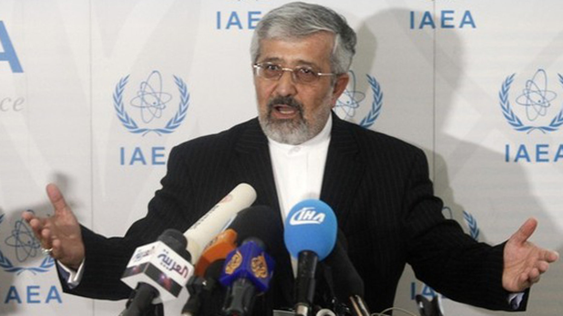 Iran's International Atomic Energy Agency (IAEA) ambassador Ali Asghar Soltanieh briefs the media during a board of governors meeting at the UN headquarters in Vienna September 15, 2010. Western powers accused Iran on Wednesday of trying to intimidate the U.N. atomic agency by barring some nuclear inspectors and the United States warned the Islamic state of possible diplomatic consequences.  REUTERS/Herwig Prammer (AUSTRIA - Tags: POLITICS)