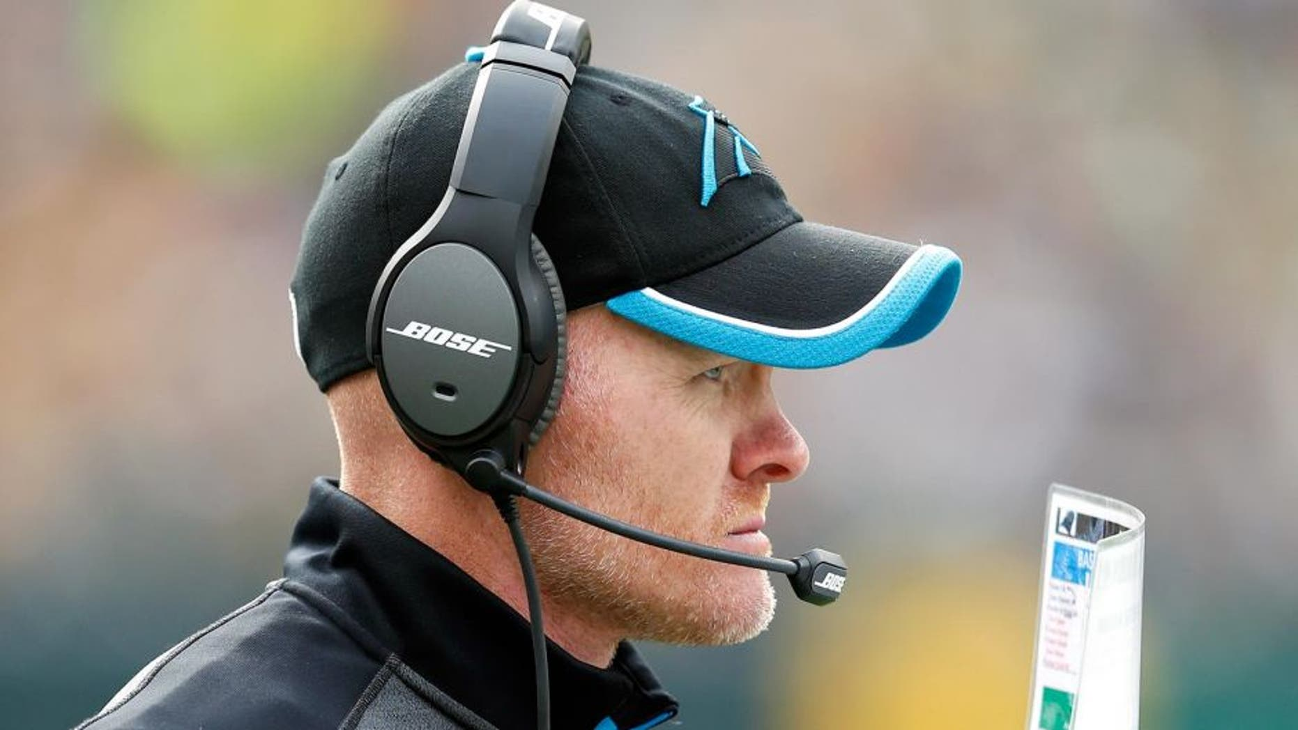 GREEN BAY, WI - OCTOBER 19: Defensive coordinator Sean McDermott of the Carolina Panthers looks on during the game against the Green Bay Packers at Lambeau Field on October 19, 2014 in Green Bay, Wisconsin. The Packers defeated the Panthers 38-17. (Photo by Joe Robbins/Getty Images) *** Local Caption *** Sean McDermott