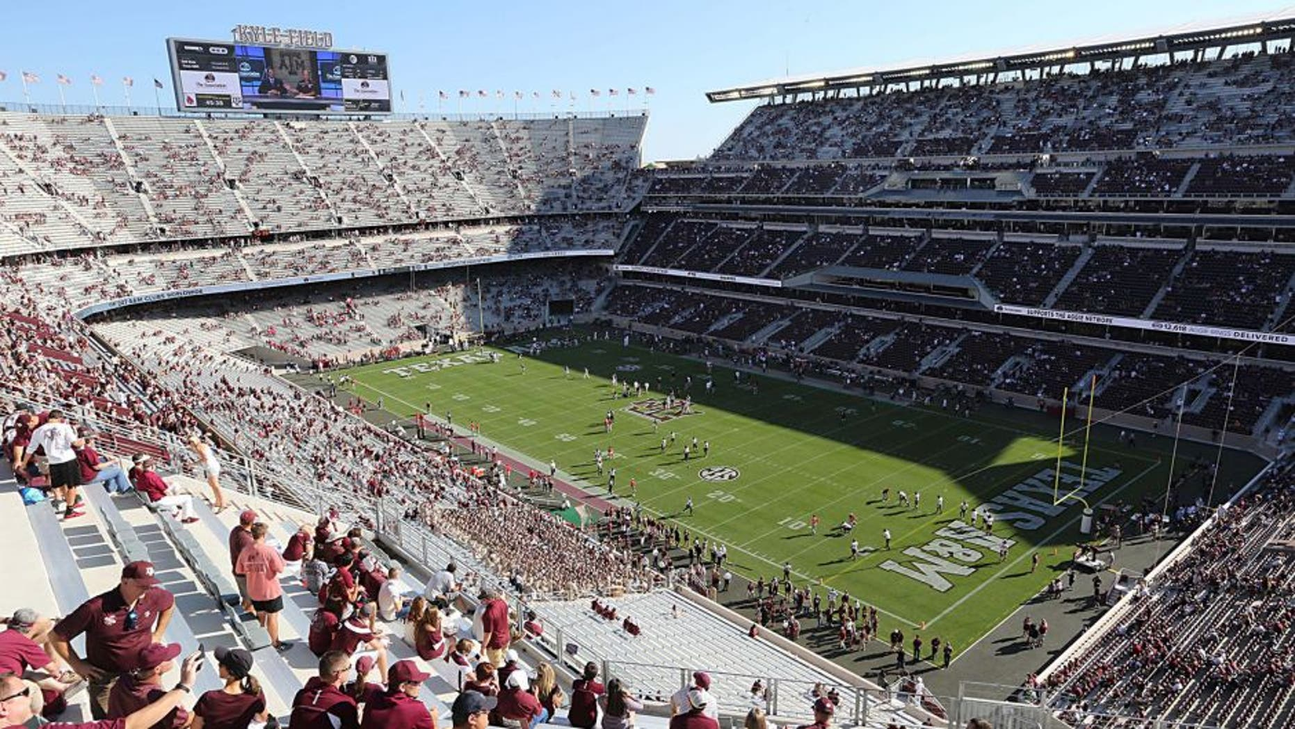 Sep 12, 2015; College Station, TX, USA; A general view while the Texas A&M Aggies and Ball State Cardinals warm up prior to the game at Kyle Field. Mandatory Credit: Thomas B. Shea-USA TODAY Sports