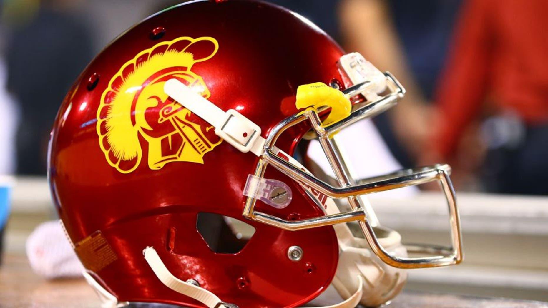 Sep 26, 2015; Tempe, AZ, USA; Detailed view of a Southern California Trojans helmet against the Arizona State Sun Devils at Sun Devil Stadium. Mandatory Credit: Mark J. Rebilas-USA TODAY Sports