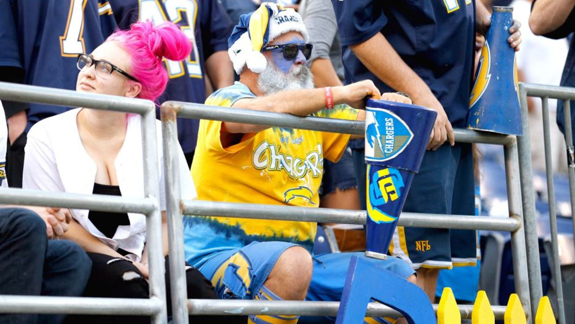SAN DIEGO, CA - DECEMBER 06: A San Diego Chargers fan sits in the stadium after a game against the Denver Broncos. at Qualcomm Stadium on December 6, 2015 in San Diego, California. The Denver Broncos won 17-3. (Photo by Sean M. Haffey/Getty Images)