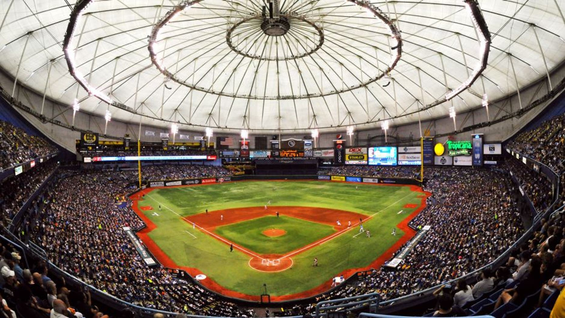 ST. PETERSBURG, FL - AUGUST 4: A capacity crowd of 34,078 fills Tropicana Field as the Tampa Bay Rays play against the San Francisco Giants August 4, 2013 at Tropicana Field in St. Petersburg, Florida. The Rays won 4 - 3. (Photo by Al Messerschmidt/Getty Images)