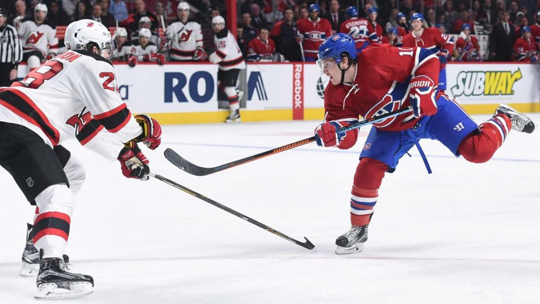 MONTREAL, QC - JANUARY 6: Brendan Gallagher #11 of the Montreal Canadiens takes a shot against the New Jersey Devils in the NHL game at the Bell Centre on January 6, 2016 in Montreal, Quebec, Canada. (Photo by Francois Lacasse/NHLI via Getty Images)
