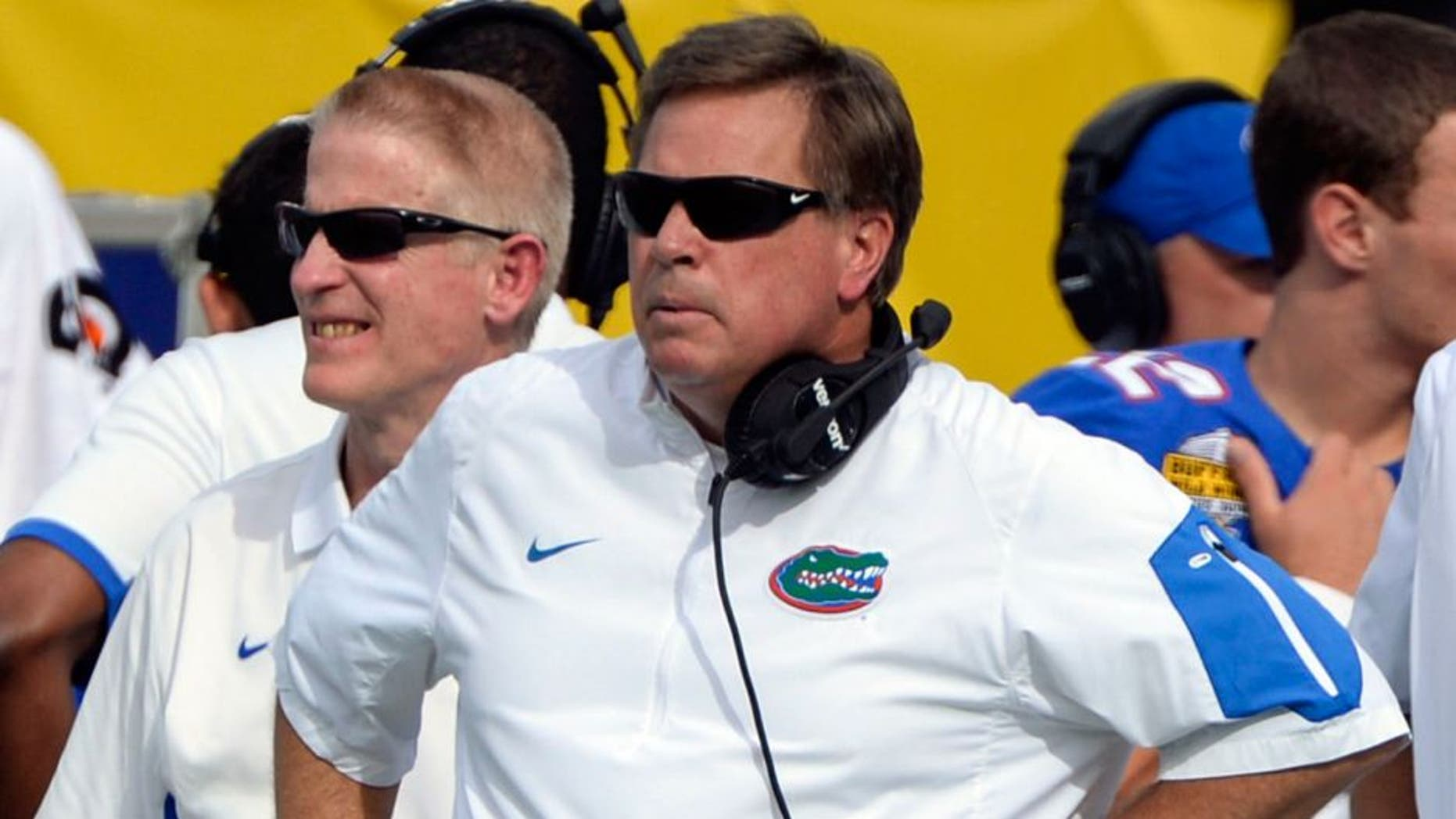 Jan 1, 2016; Orlando, FL, USA; Florida Gators head coach Jim McElwain looks onto the field during the second quarter against the Michigan Wolverines in the 2016 Citrus Bowl at Orlando Citrus Bowl Stadium. Mandatory Credit: Tommy Gilligan-USA TODAY Sports