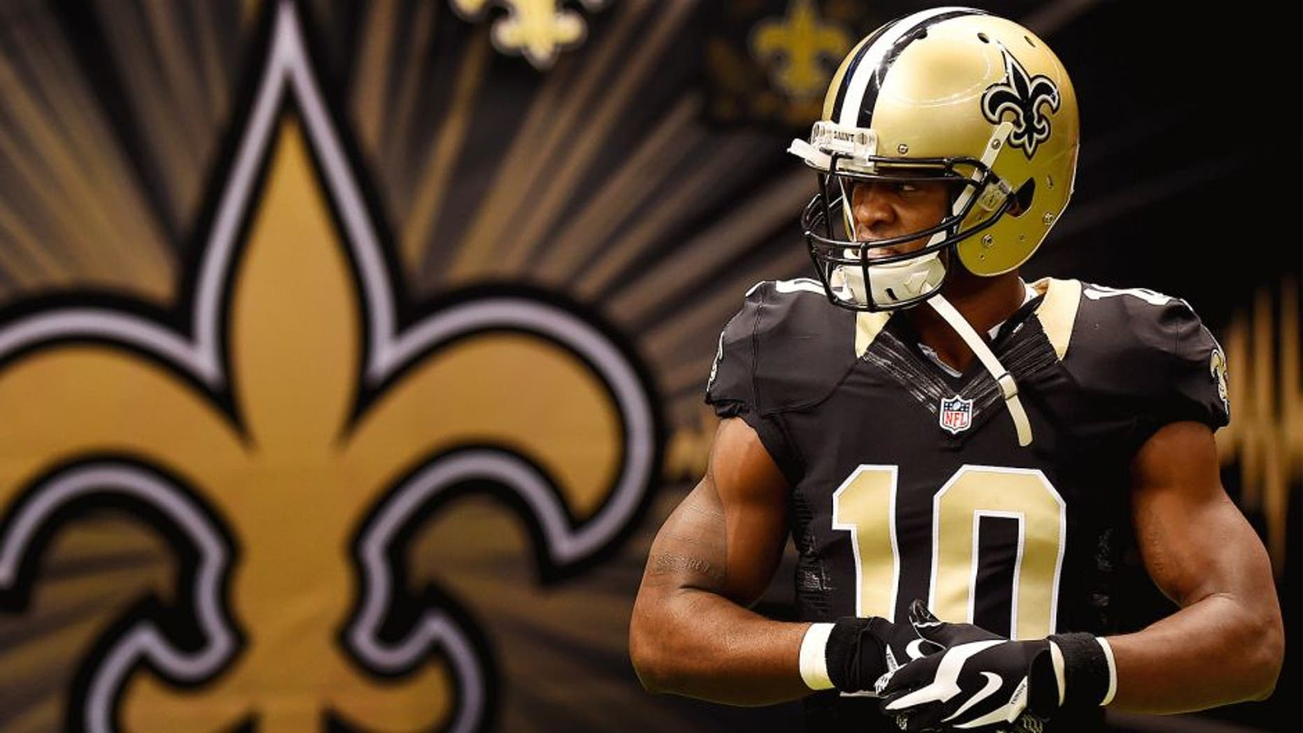 NEW ORLEANS, LA - NOVEMBER 16: Brandin Cooks #10 of the New Orleans Saints runs onto the field for warm-up prior to start of the game against the Cincinnati Bengals at Mercedes-Benz Superdome on November 16, 2014 in New Orleans, Louisiana. (Photo by Stacy Revere/Getty Images)