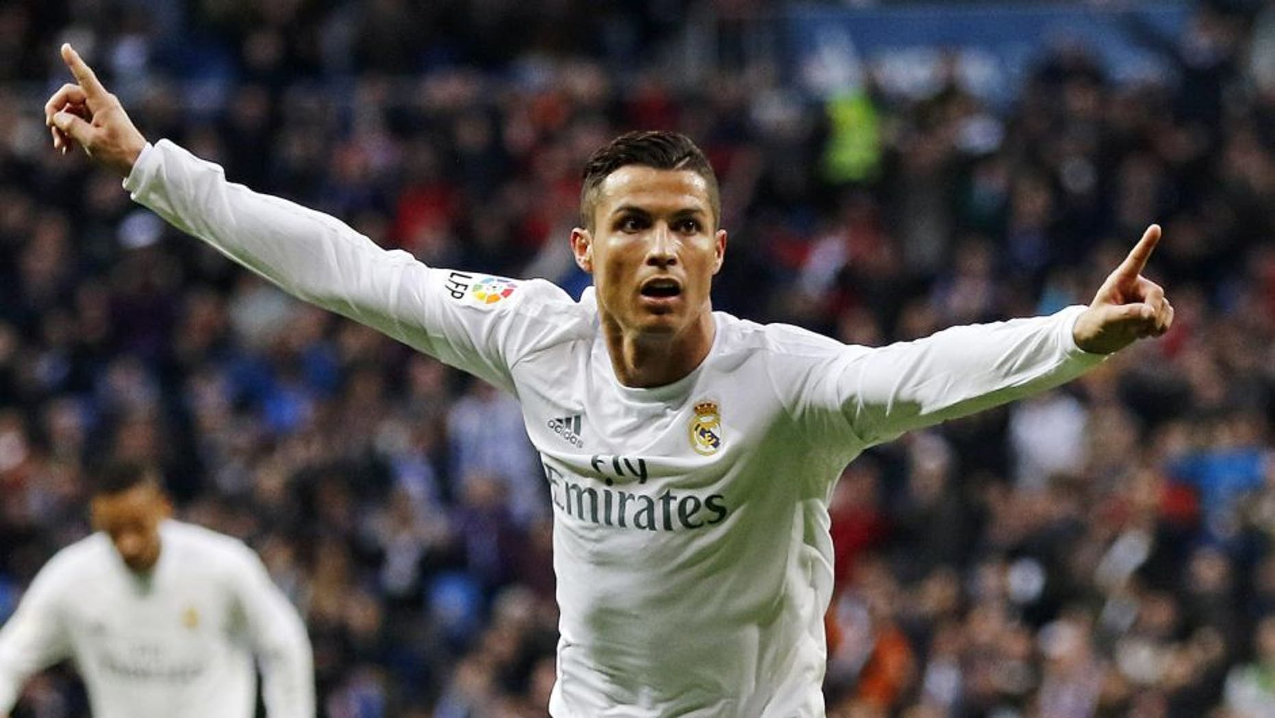 MADRID, SPAIN - DECEMBER 30: Cristiano Ronaldo of Real Madrid celebrates after scoring his team's second goal during the La Liga match between Real Madrid CF and Real Sociedad at Estadio Santiago Bernabeu on December 30, 2015 in Madrid, Spain. (Photo by Angel Martinez/Real Madrid via Getty Images)