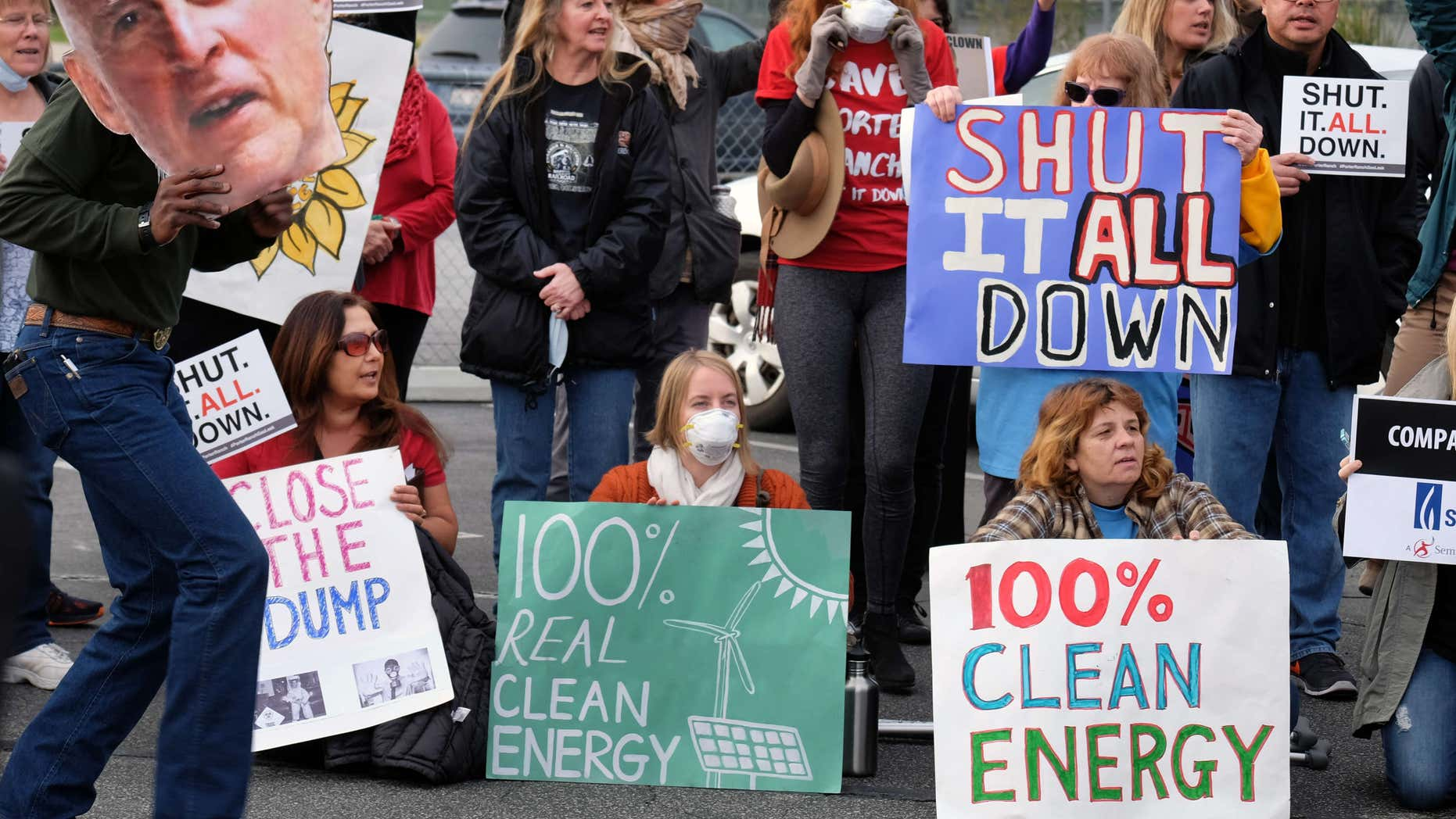 Jan. 16, 2016: Protestors carry a photo of California's governor Jerry Brown and demand a shut down of the Southern California Gas Company's Aliso Canyon Storage Facility near Porter Ranch in Los Angeles.