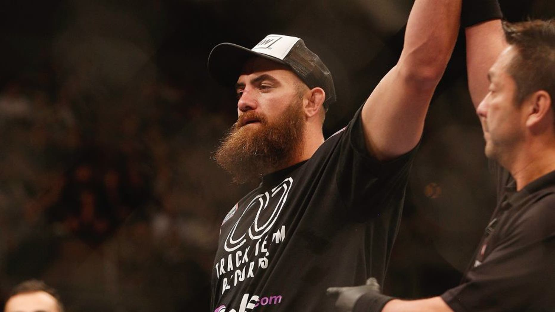 LAS VEGAS, NV - DECEMBER 06: Travis Browne is declared the winner over Brendan Schaub in their heavyweight bout during the UFC 181 event inside the Mandalay Bay Events Center on December 6, 2014 in Las Vegas, Nevada. (Photo by Josh Hedges/Zuffa LLC/Zuffa LLC via Getty Images)
