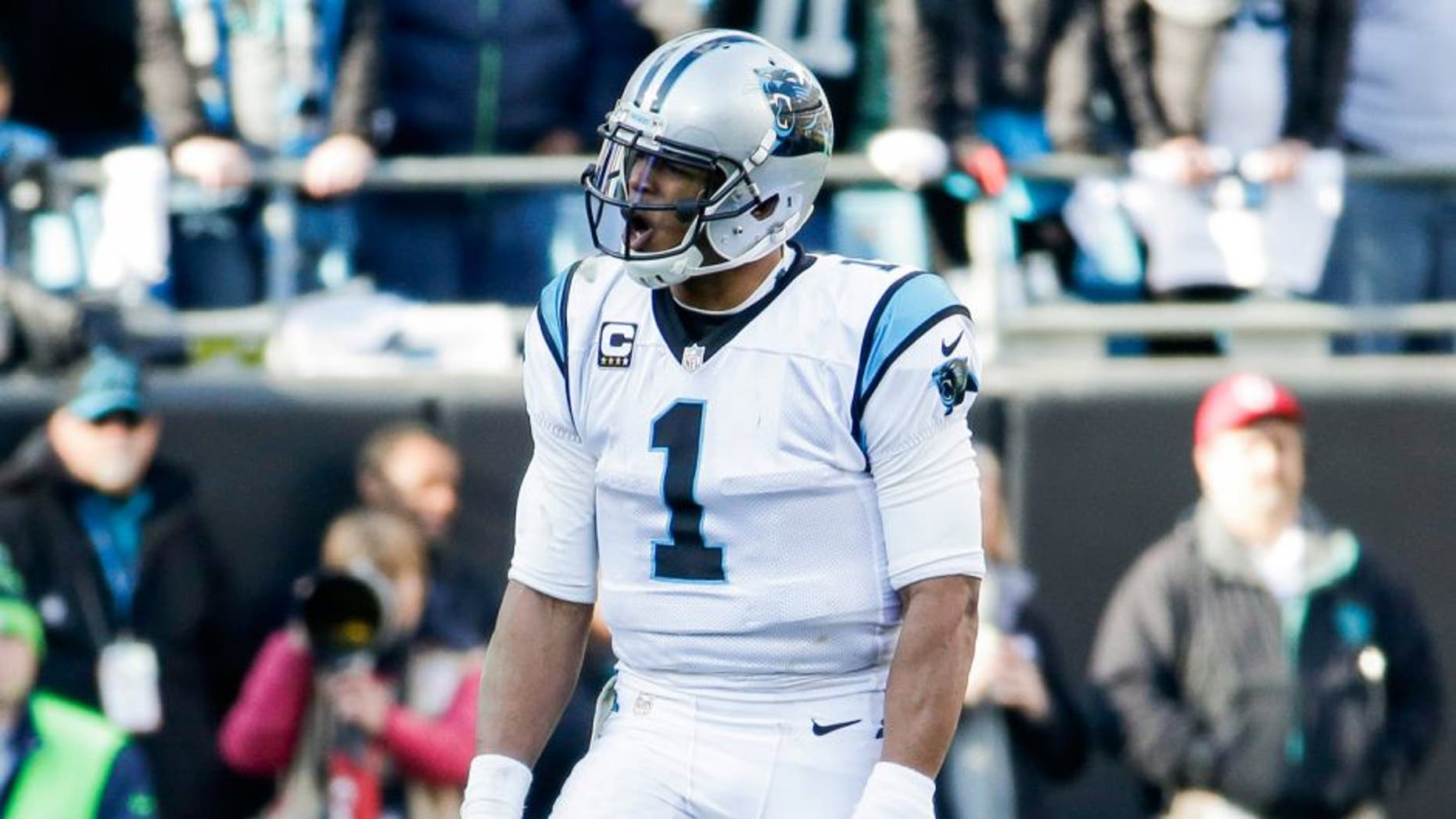 Jan 17, 2016; Charlotte, NC, USA; Carolina Panthers quarterback Cam Newton (1) reacts during the fourth quarter against the Seattle Seahawks in a NFC Divisional round playoff game at Bank of America Stadium. Mandatory Credit: Jeremy Brevard-USA TODAY Sports